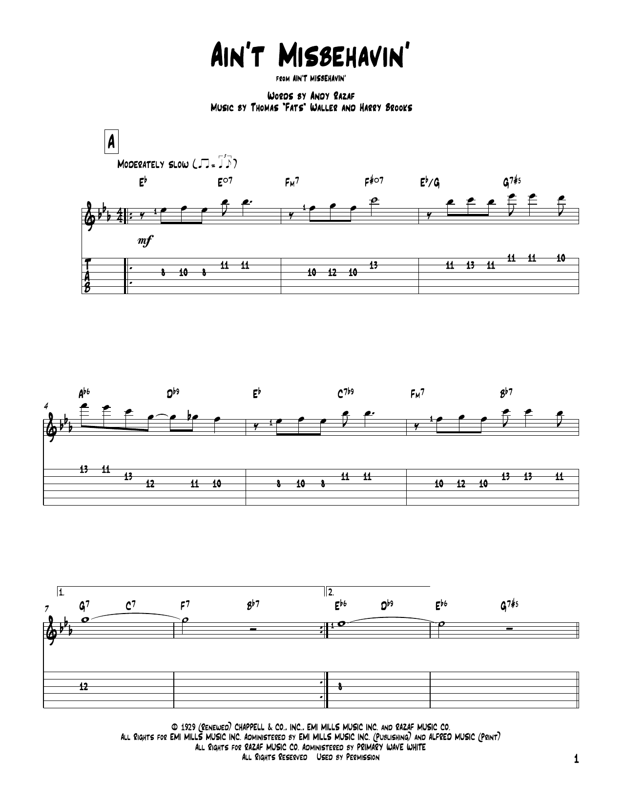Tablature guitare Ain't Misbehavin' de Fats Waller - Tablature Guitare