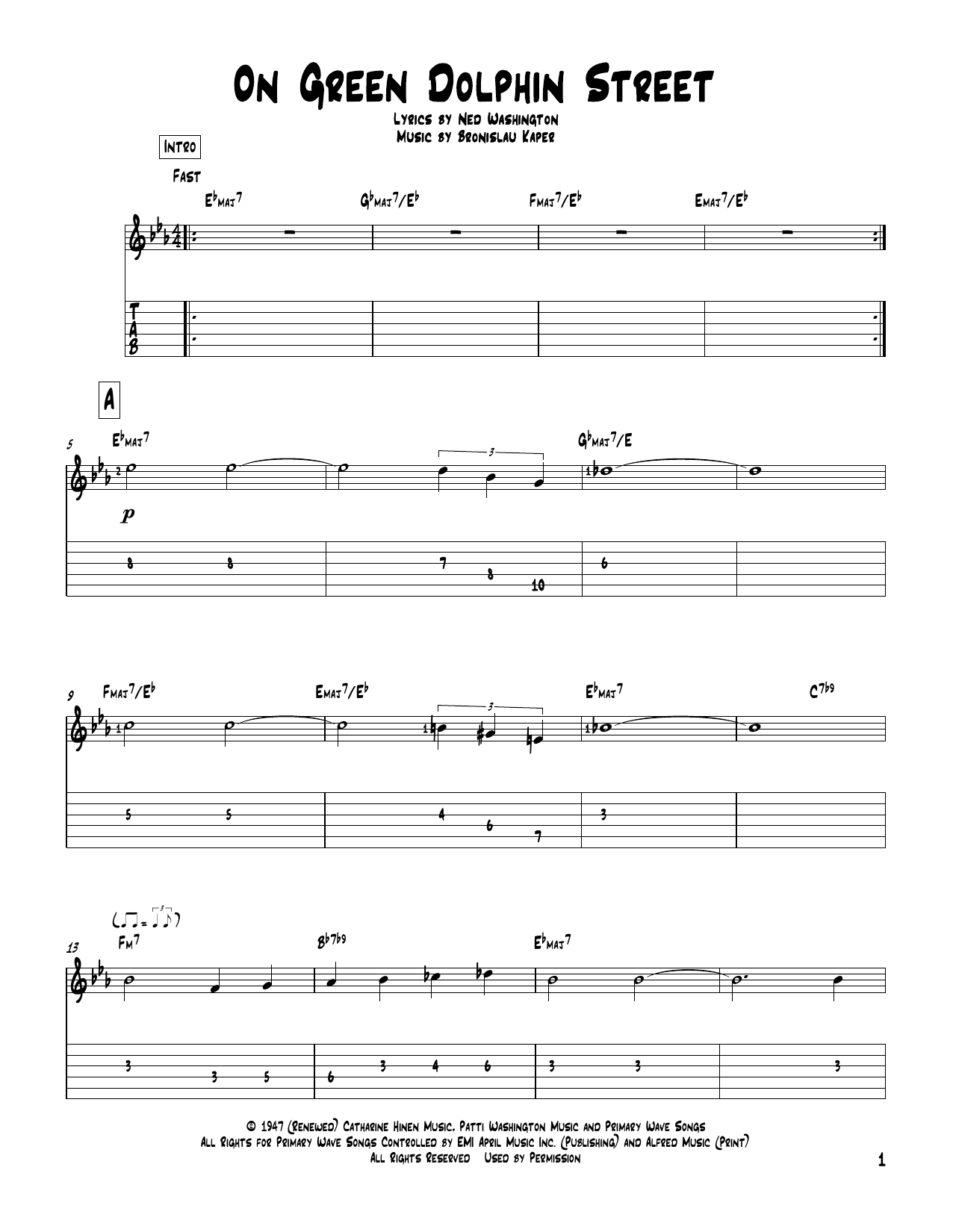 On Green Dolphin Street Sheet Music