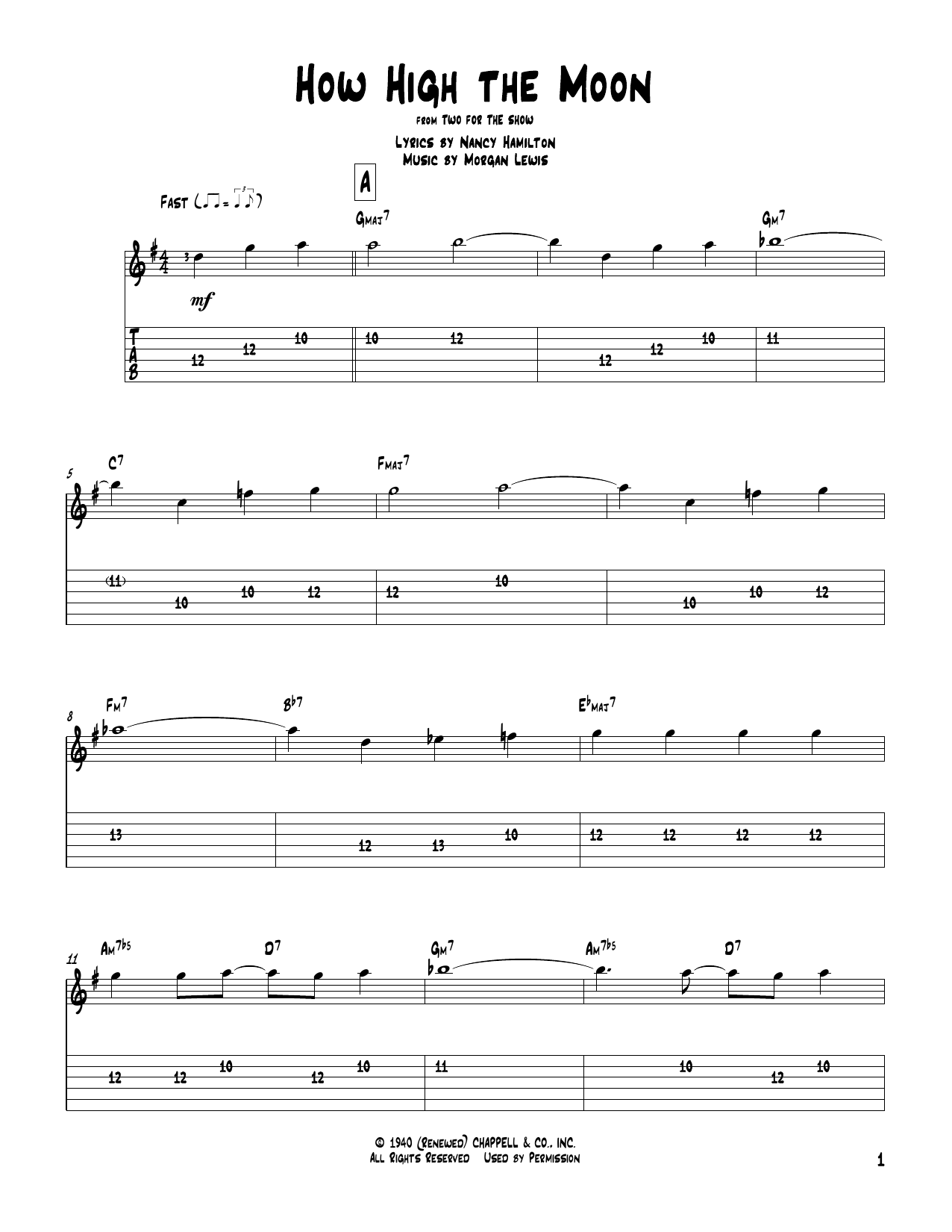 how high the moon guitar tab by les paul mary ford. Black Bedroom Furniture Sets. Home Design Ideas
