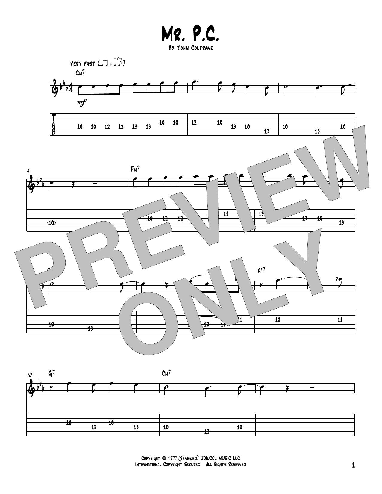Mr. P.C. (Solo Guitar Tab)
