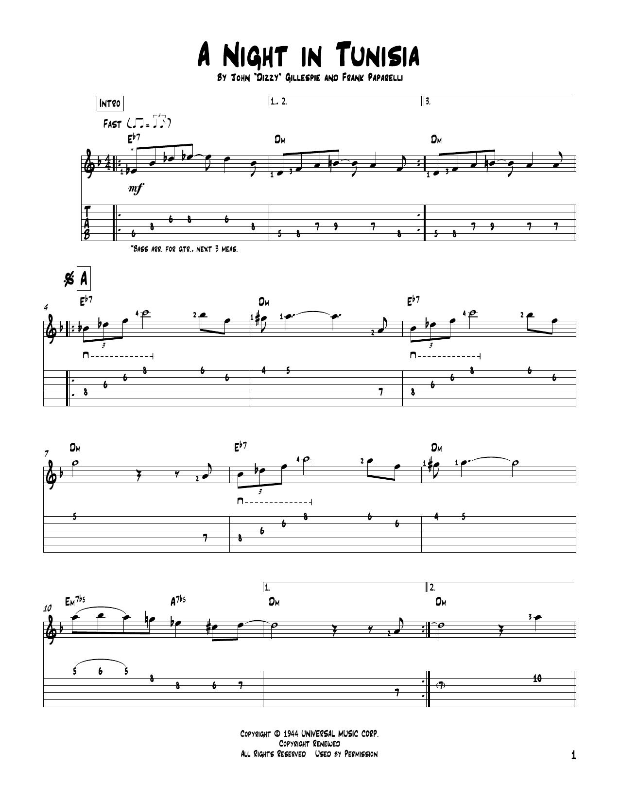 Tablature guitare A Night In Tunisia de Dizzy Gillespie - Tablature Guitare