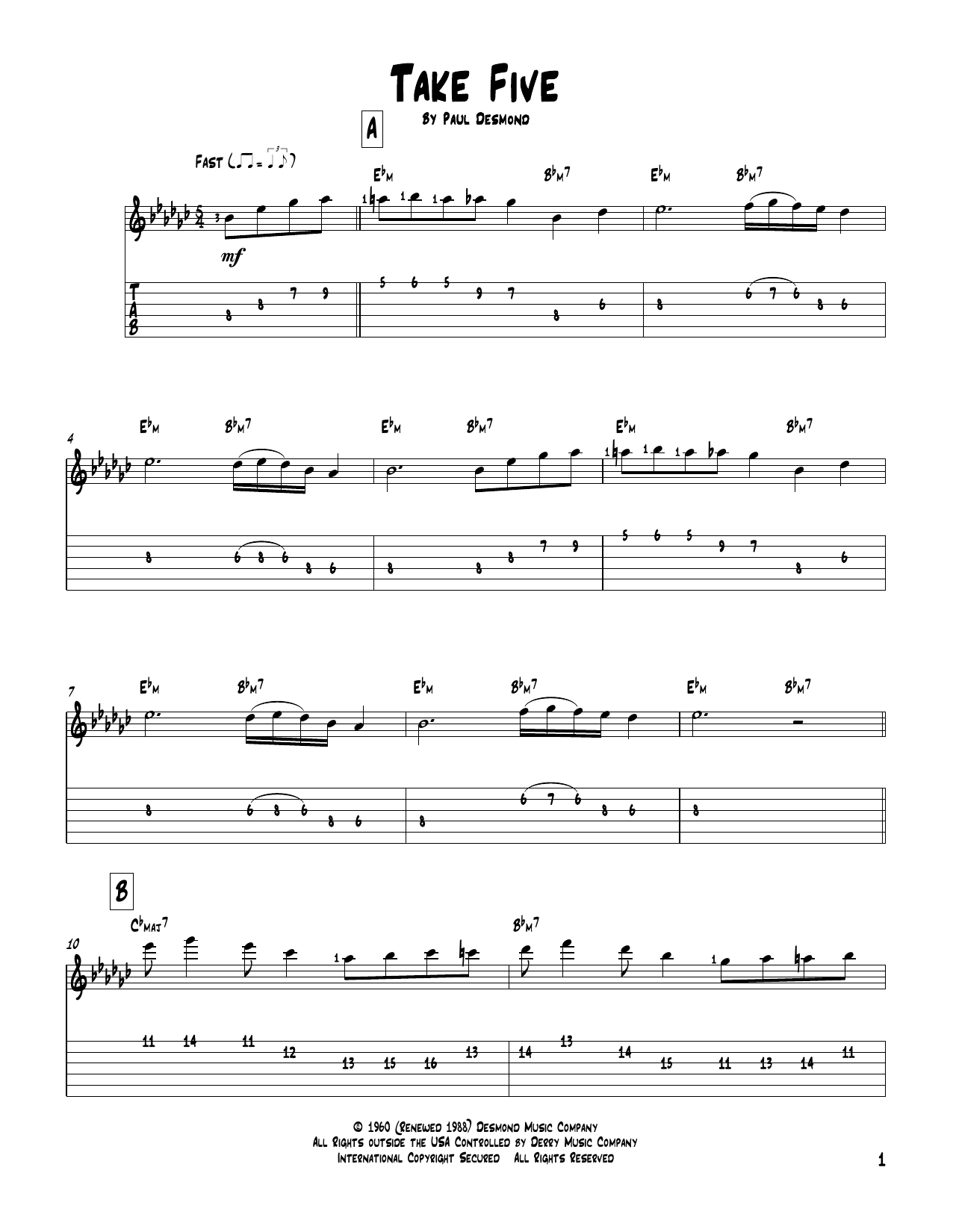 Take Five (Solo Guitar Tab)