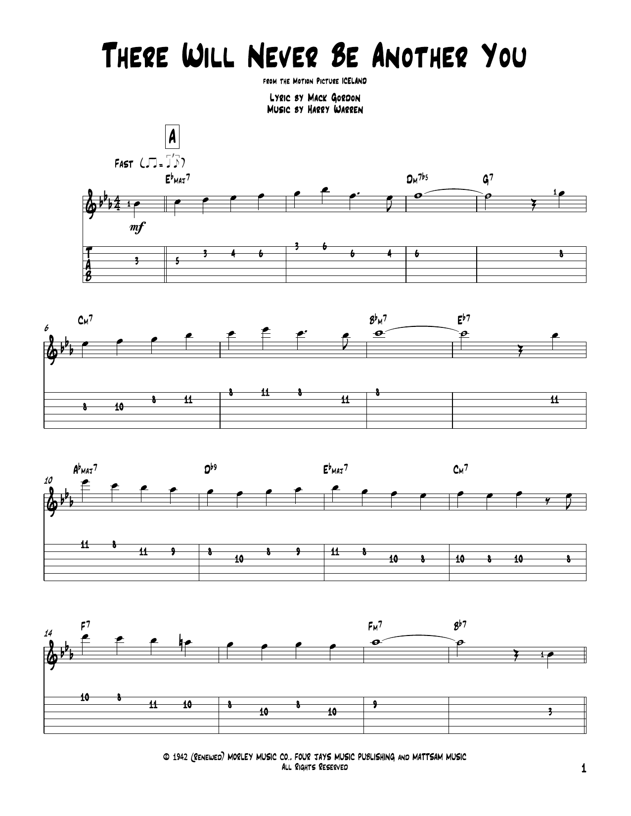 Tablature guitare There Will Never Be Another You de Harry Warren - Tablature Guitare