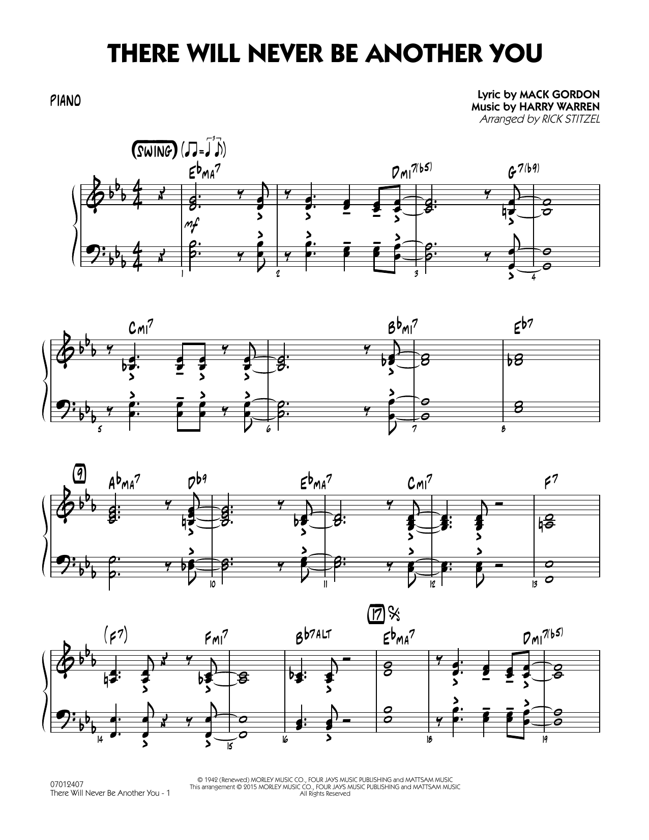 There Will Never Be Another You - Piano (Jazz Ensemble)