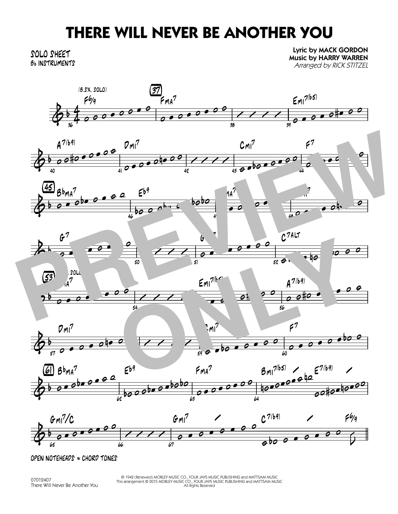 There Will Never Be Another You - Bb Solo Sheet (Jazz Ensemble)