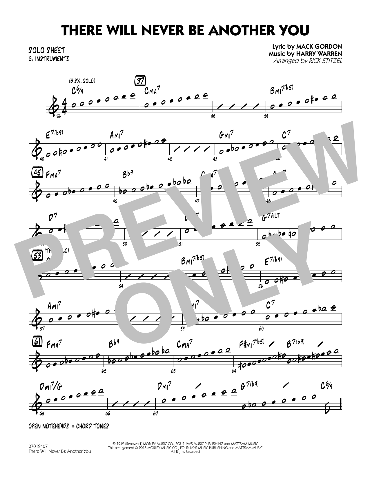 There Will Never Be Another You - Eb Solo Sheet (Jazz Ensemble)
