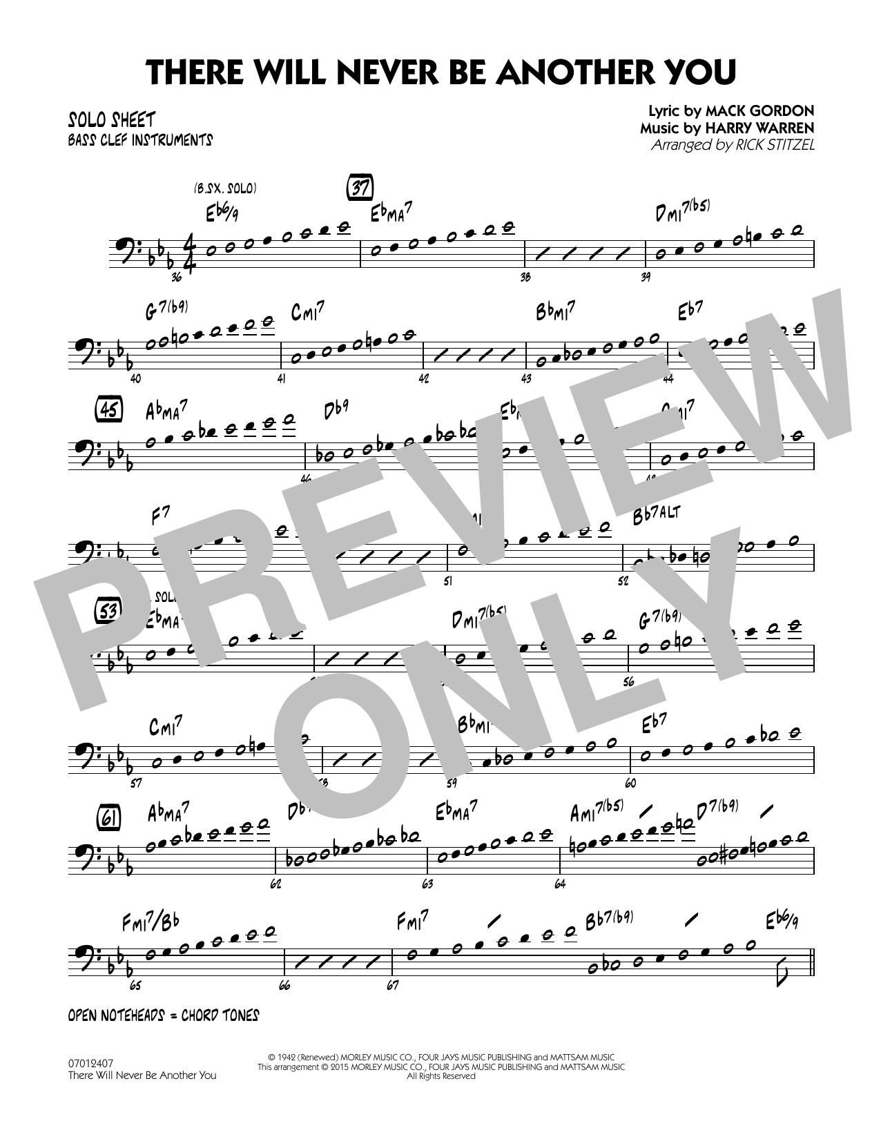 There Will Never Be Another You - Bass Clef Solo Sheet (Jazz Ensemble)