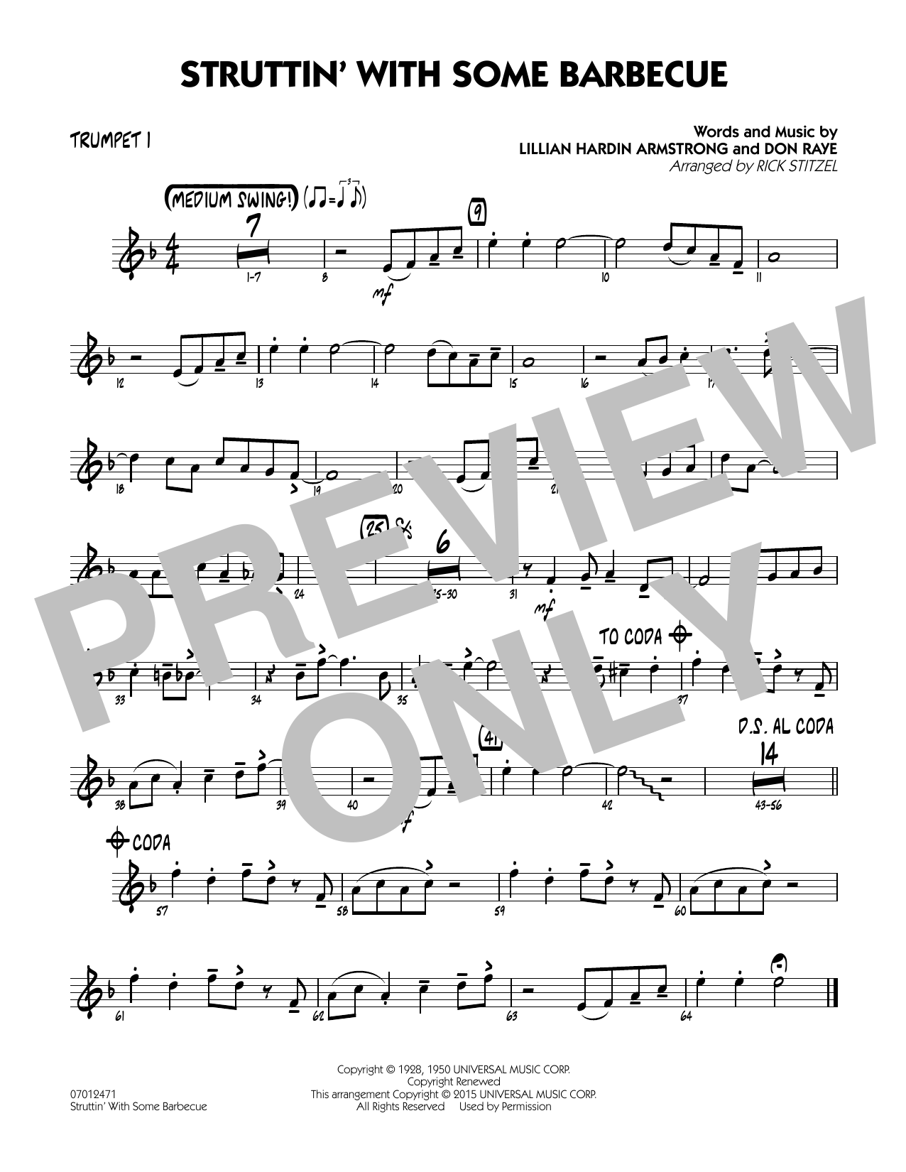 Struttin' with Some Barbecue - Trumpet 1 (Jazz Ensemble)