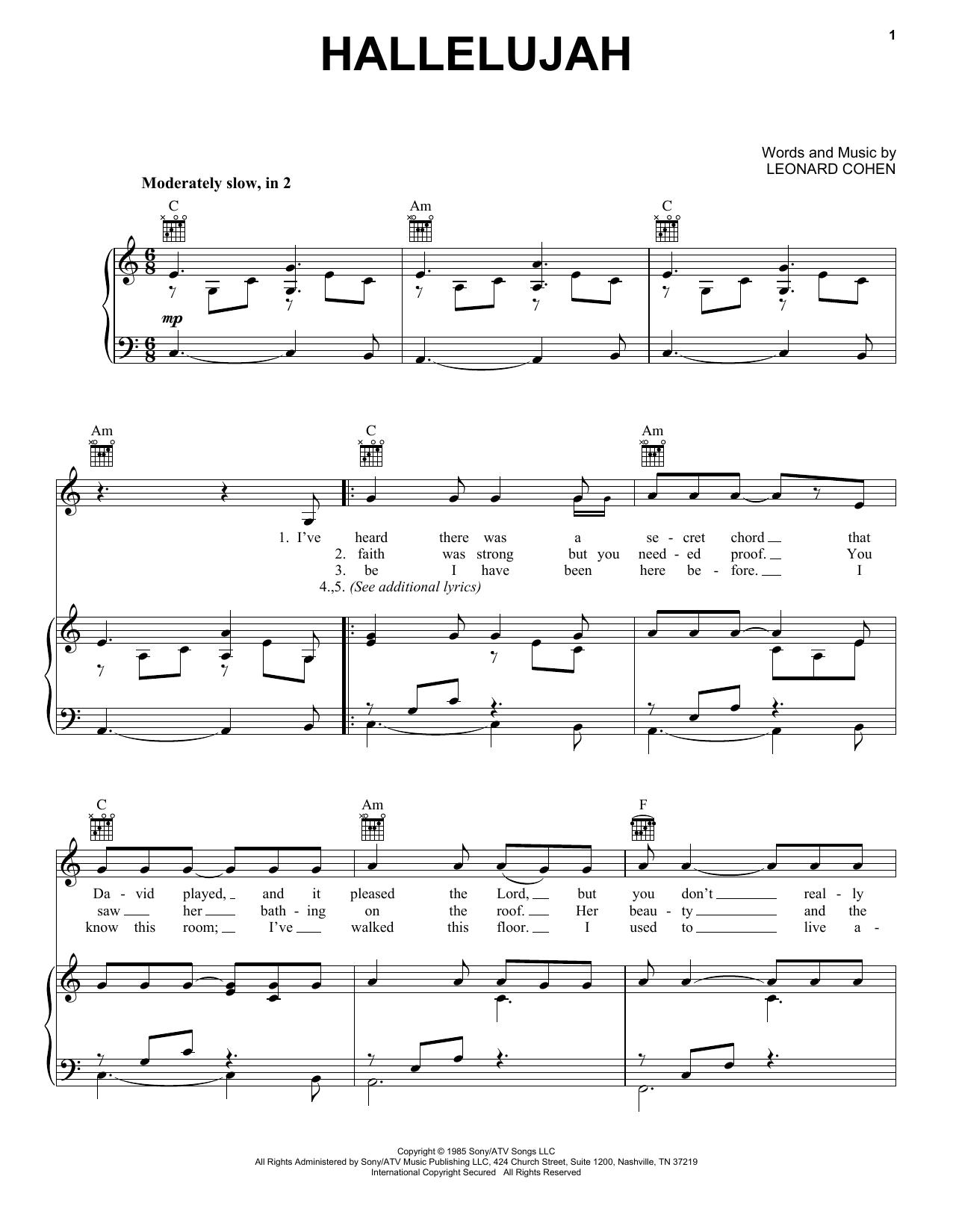 Bekannt Hallelujah partition par Leonard Cohen (Piano, Chant et Guitare  GX67