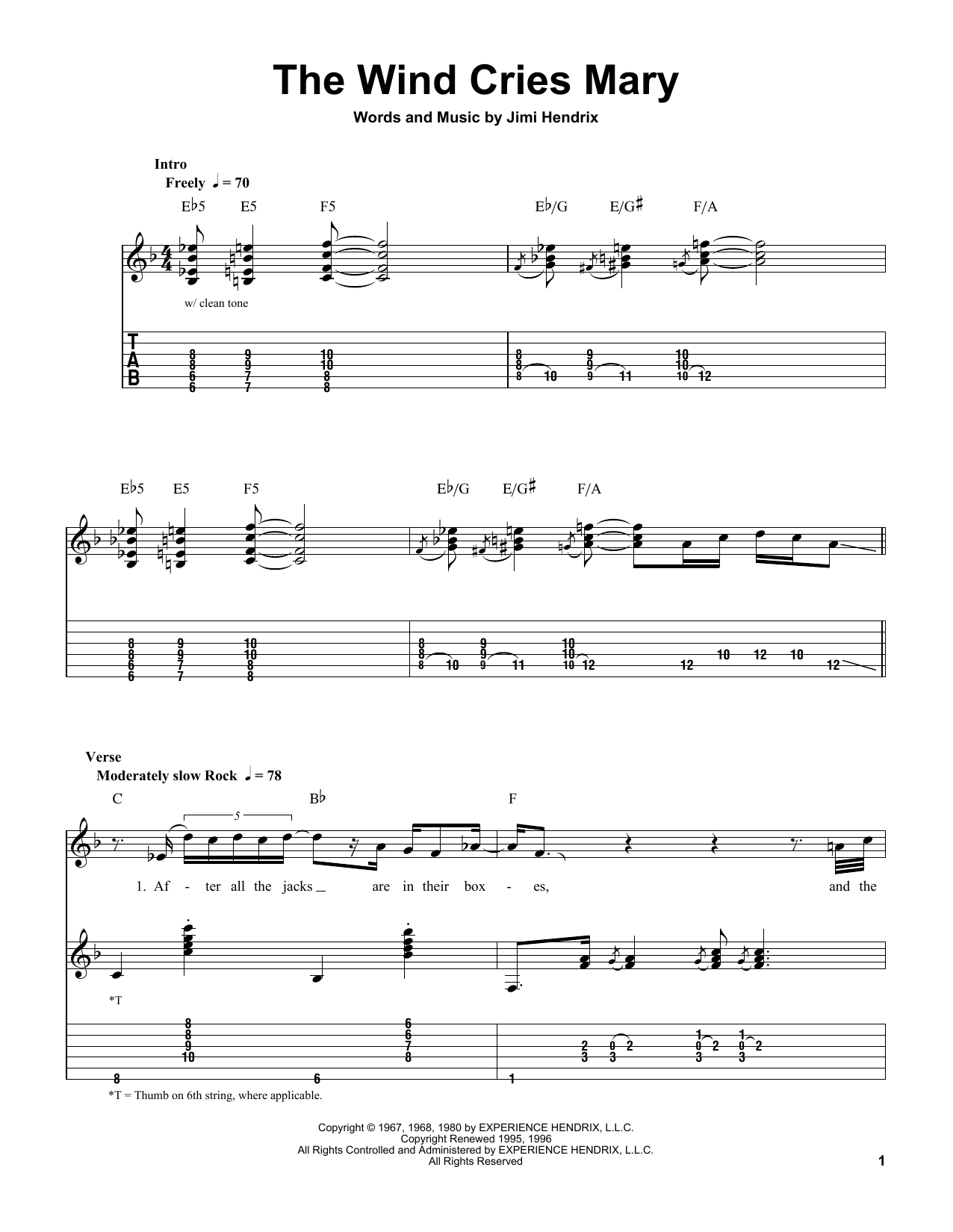 The Wind Cries Mary (Easy Guitar Tab)