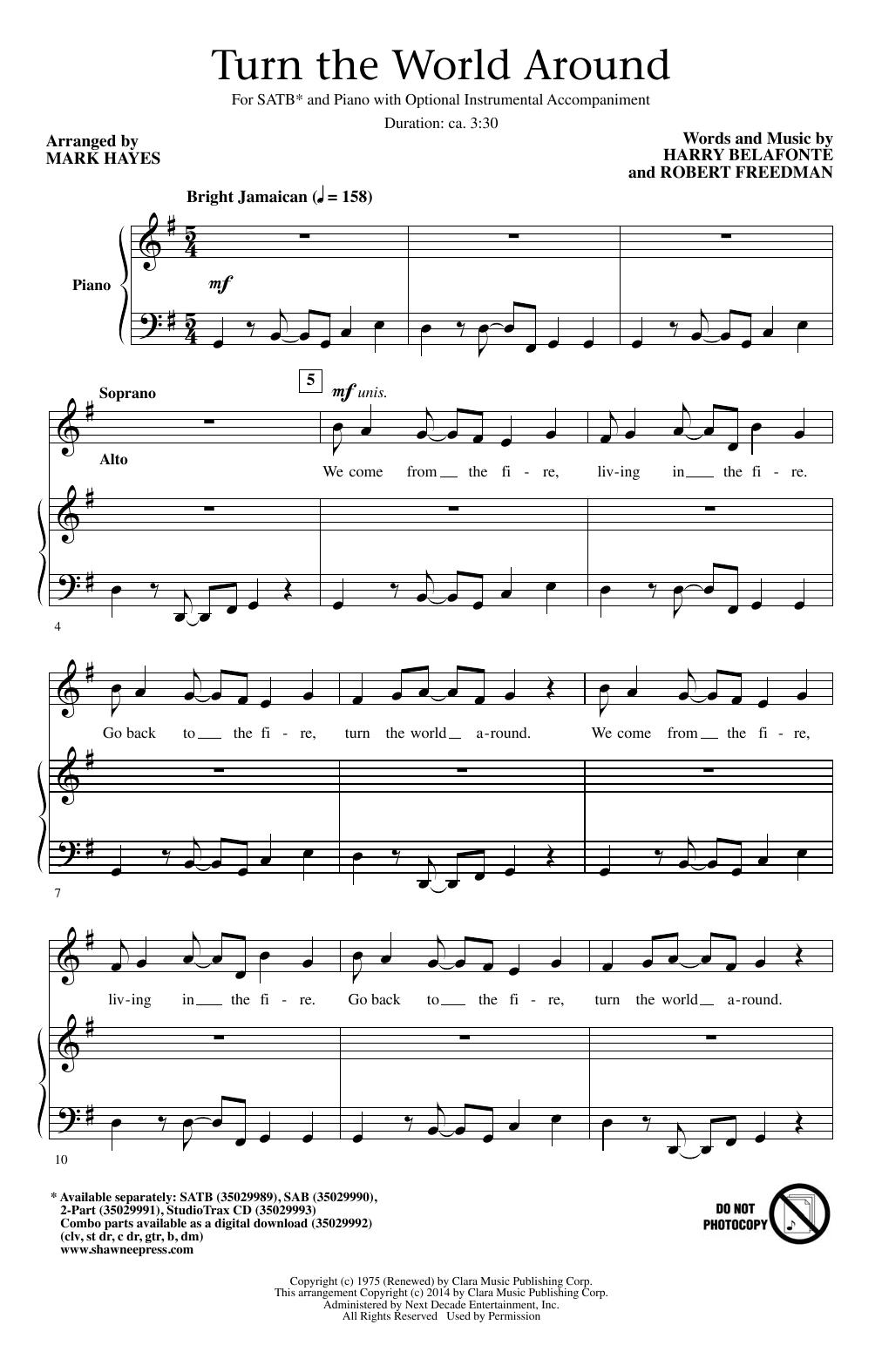 Partition chorale Turn The World Around (arr. Mark Hayes) de Harry Belafonte - SATB