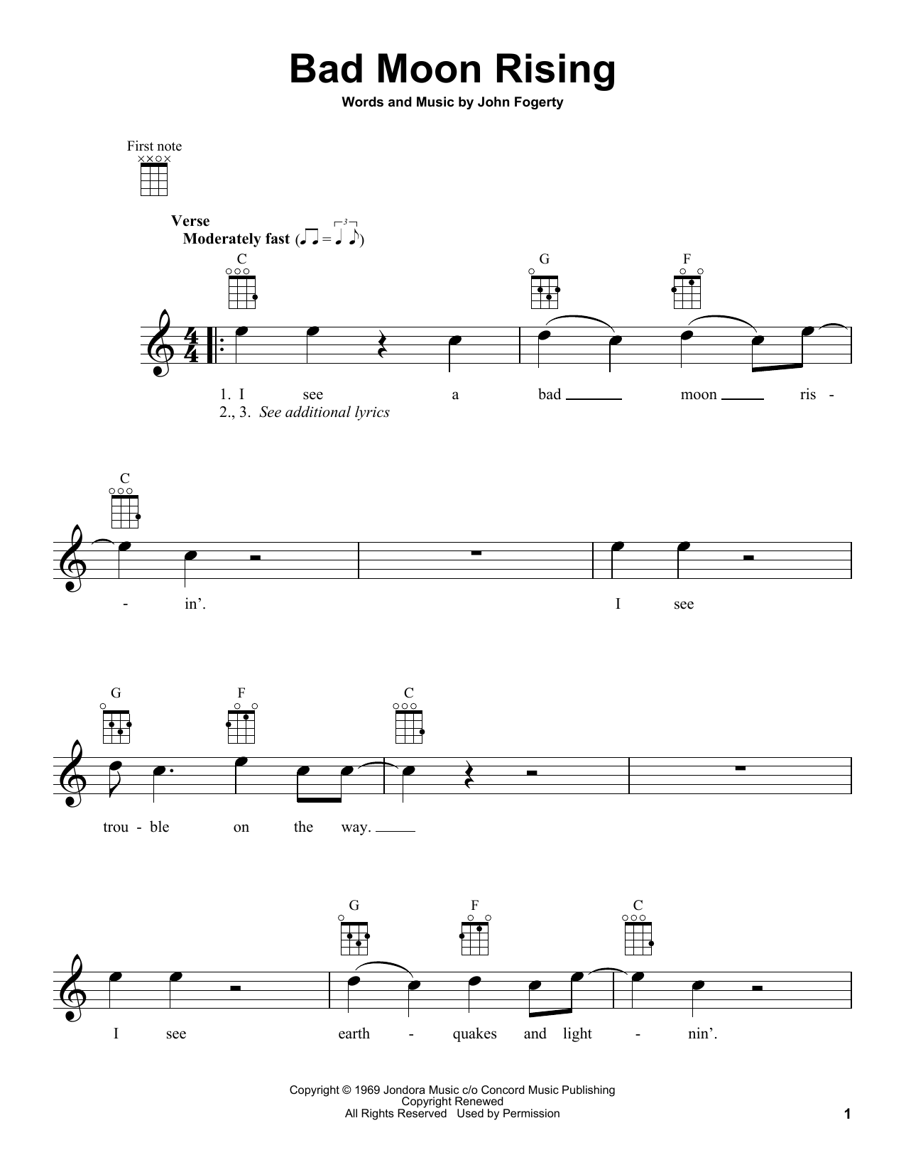 Bad Moon Rising Sheet Music