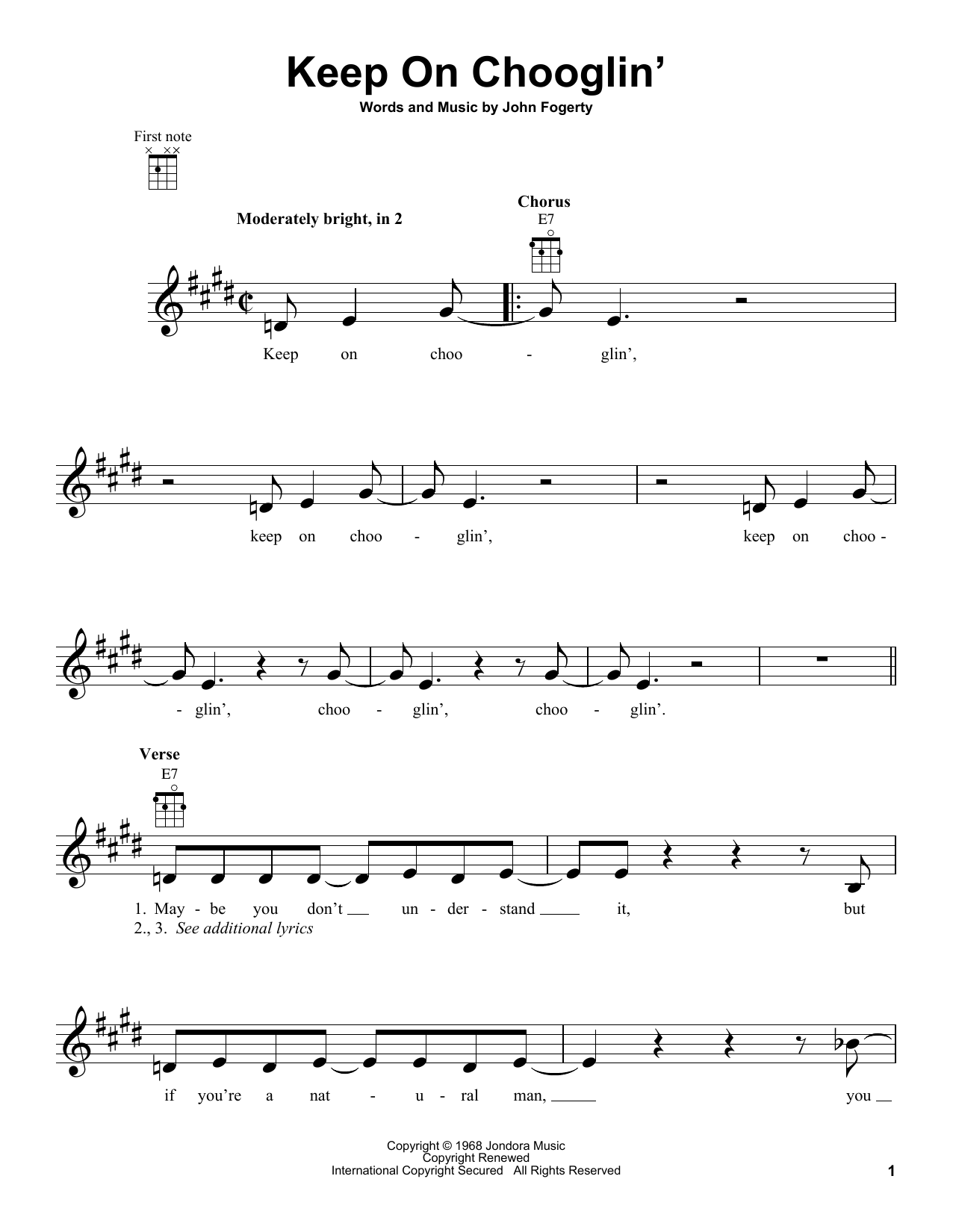 Tablature guitare Keep On Chooglin' de Creedence Clearwater Revival - Ukulele