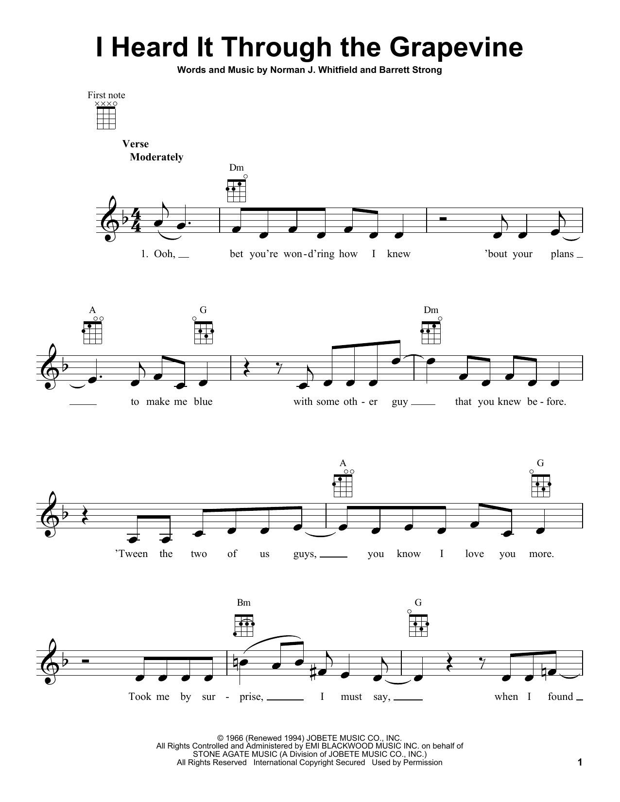 Tablature guitare I Heard It Through The Grapevine de Creedence Clearwater Revival - Ukulele
