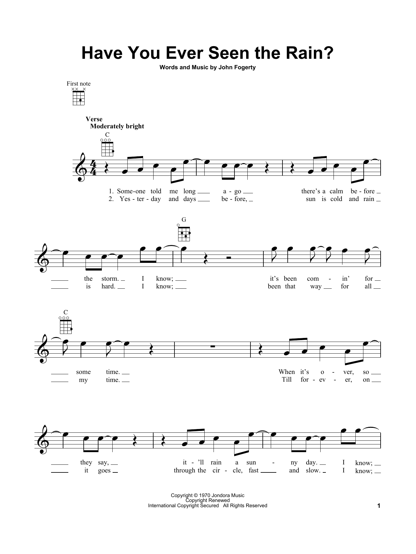 Have You Ever Seen The Rain? Sheet Music