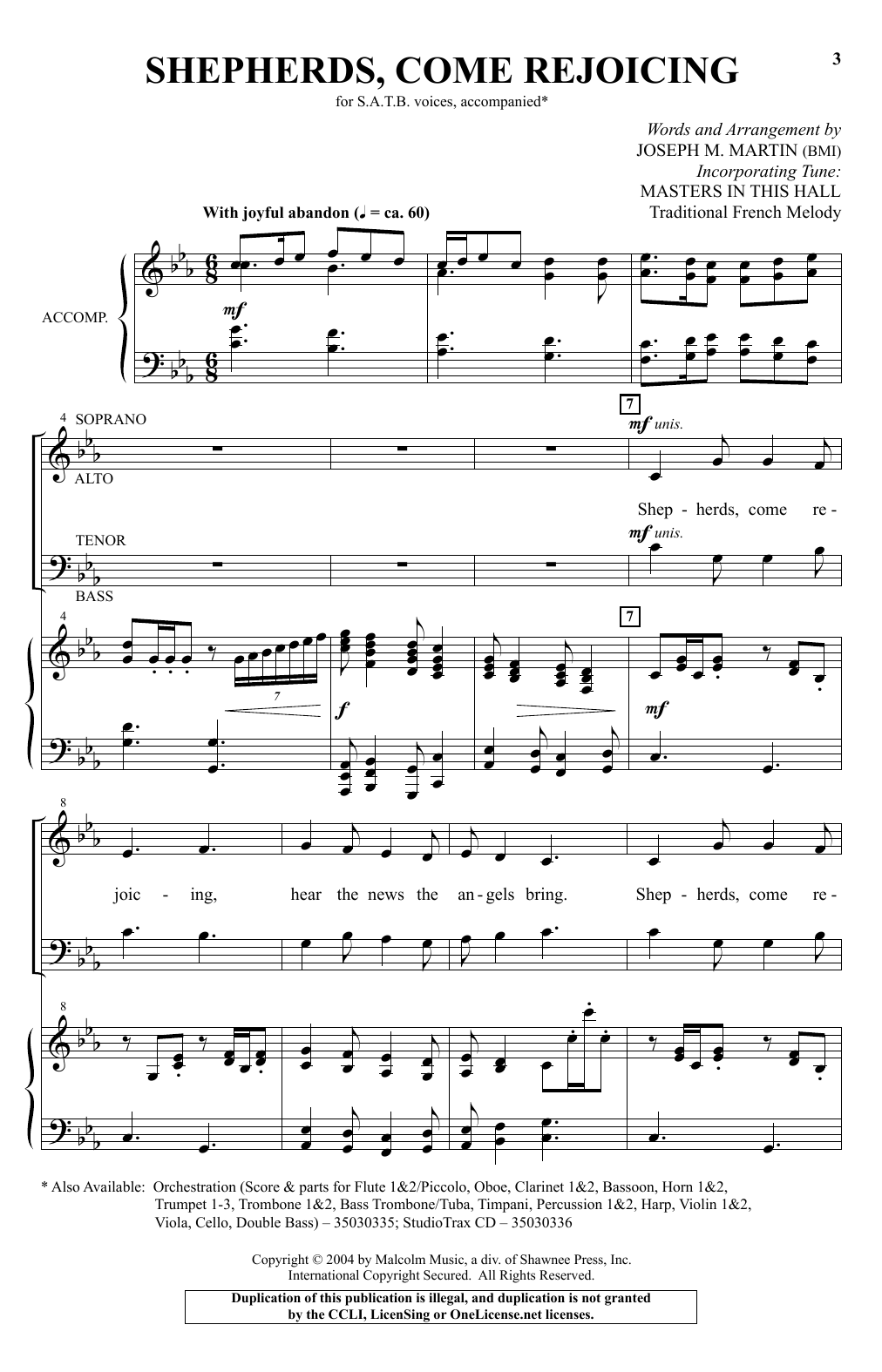 Shepherds, Come Rejoicing Sheet Music