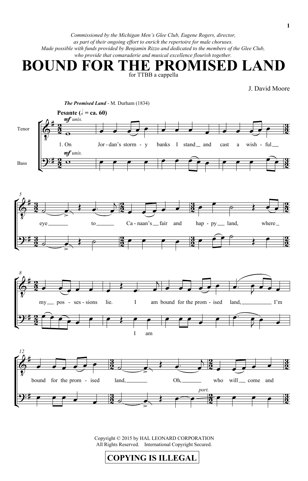 Bound For The Promised Land Sheet Music