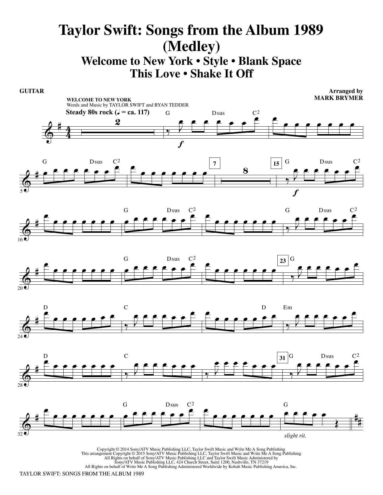 Taylor Swift: Songs from the Album 1989 - Guitar Sheet Music