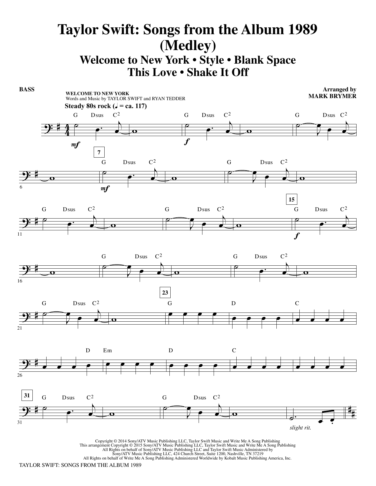 Taylor Swift: Songs from the Album 1989 - Bass Sheet Music