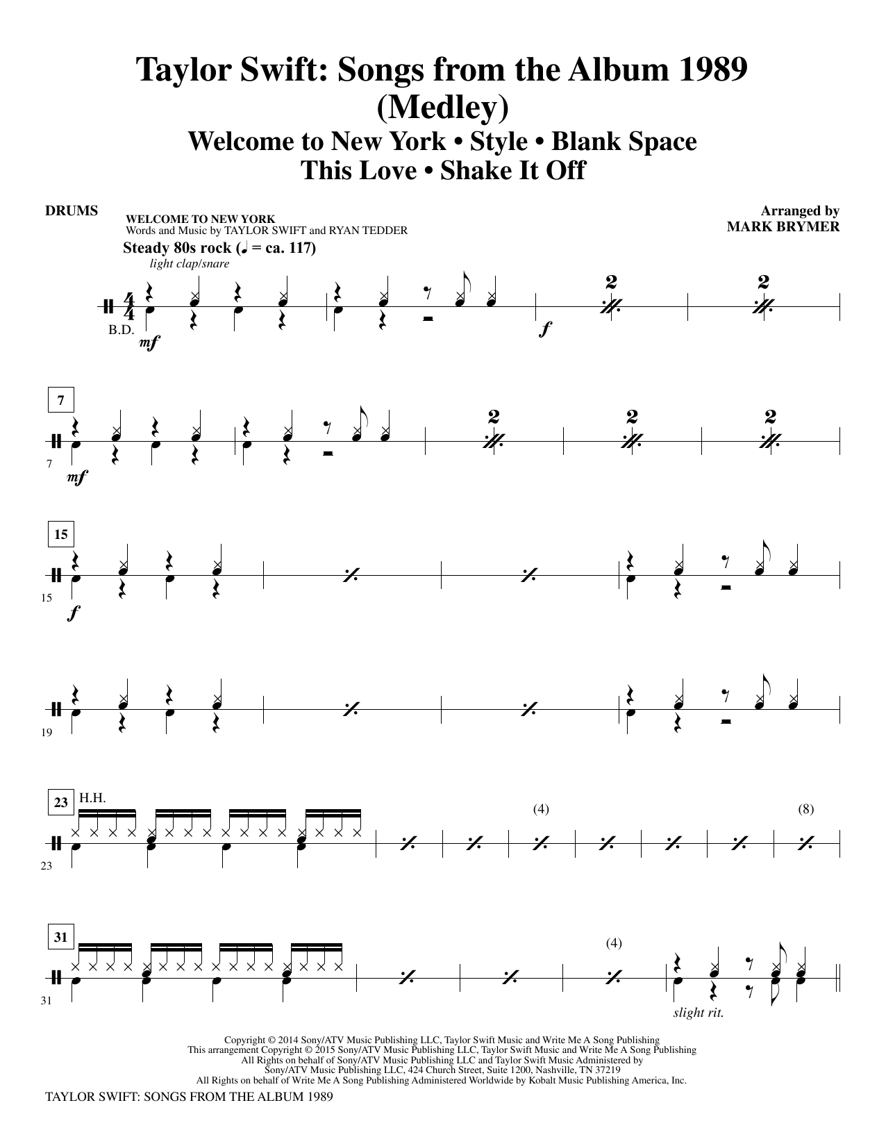 Taylor Swift: Songs from the Album 1989 - Drums (Choir Instrumental Pak)