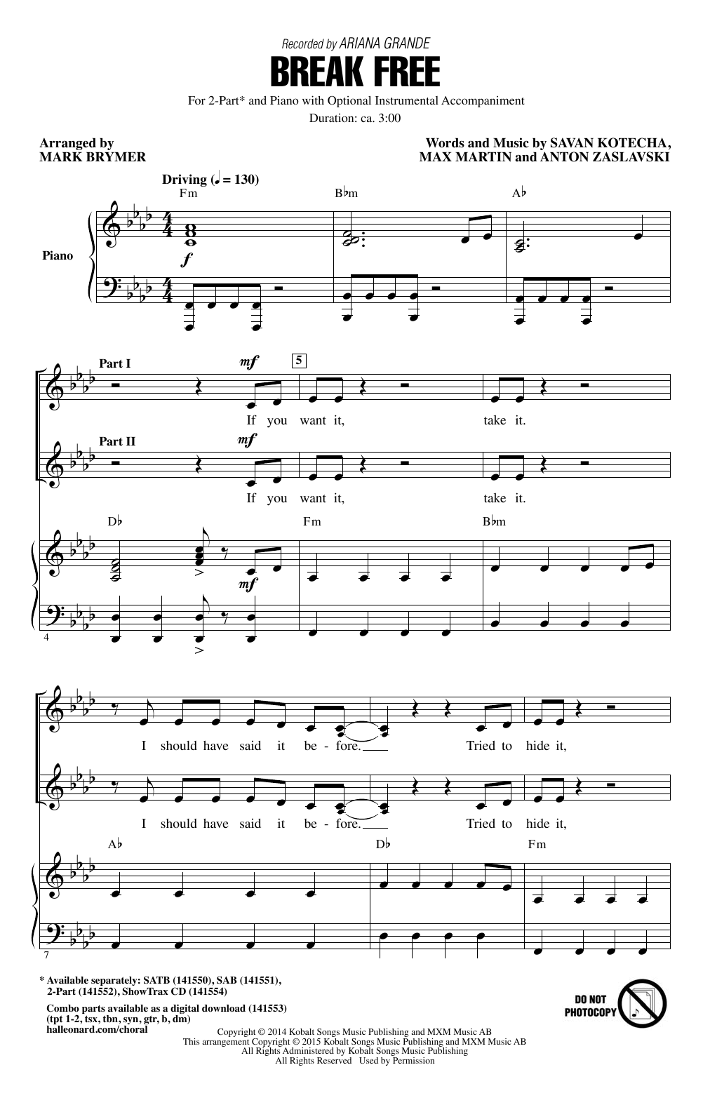 Break Free (feat. Zedd) (arr. Mark Brymer) Sheet Music