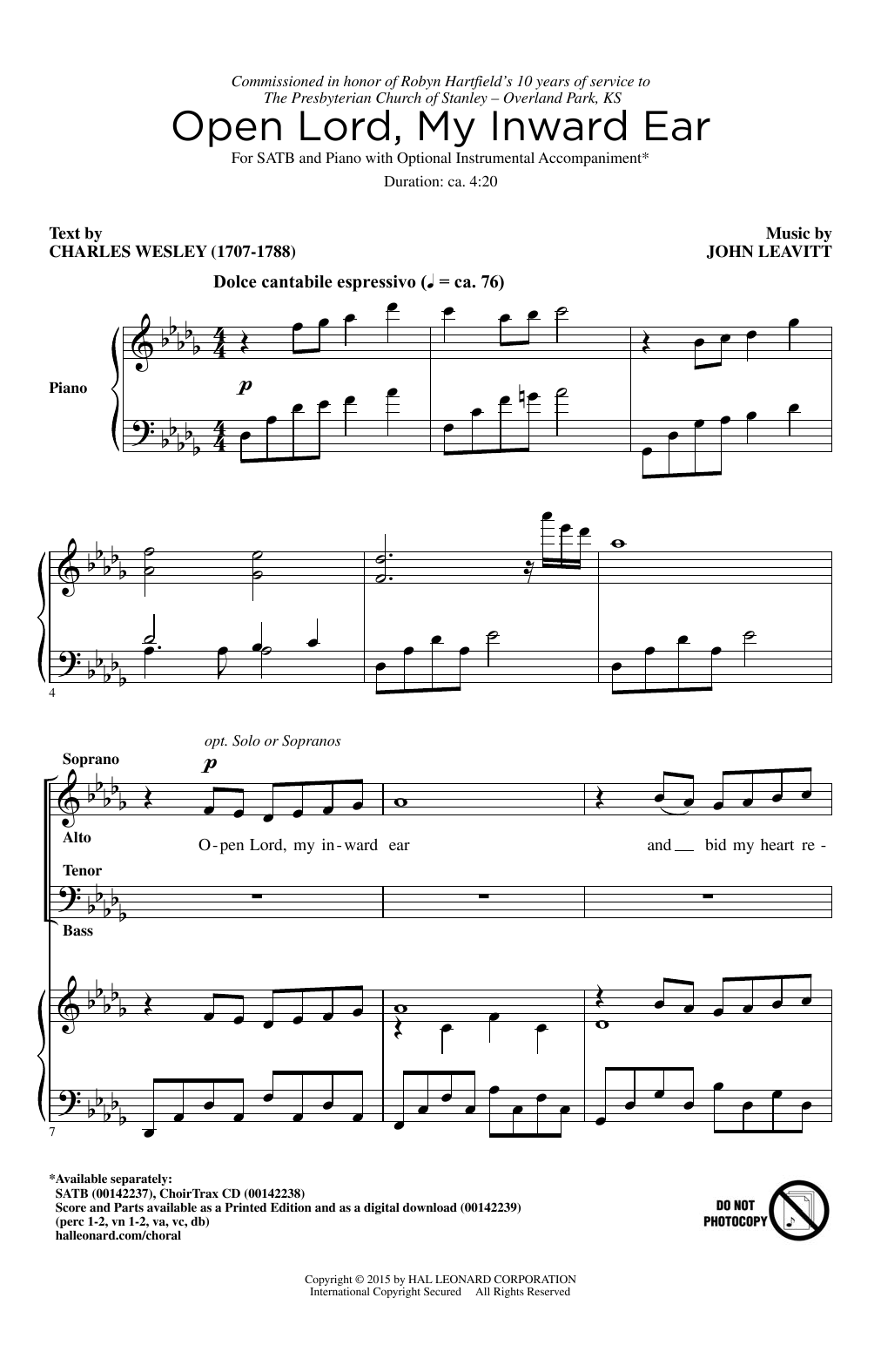 Partition chorale Open Lord, My Inward Ear de John Leavitt - SATB