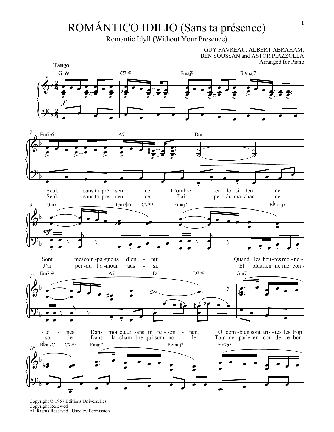 Romantico Idilio (Sans ta presence) Sheet Music