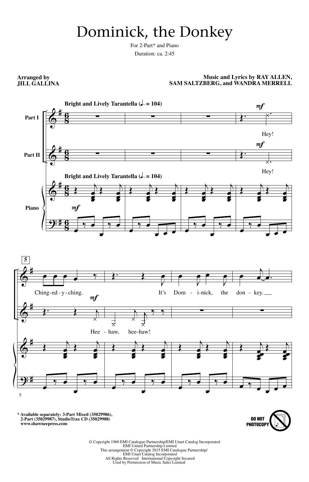 Partition chorale Dominick, The Donkey de Lou Monte - 2 voix