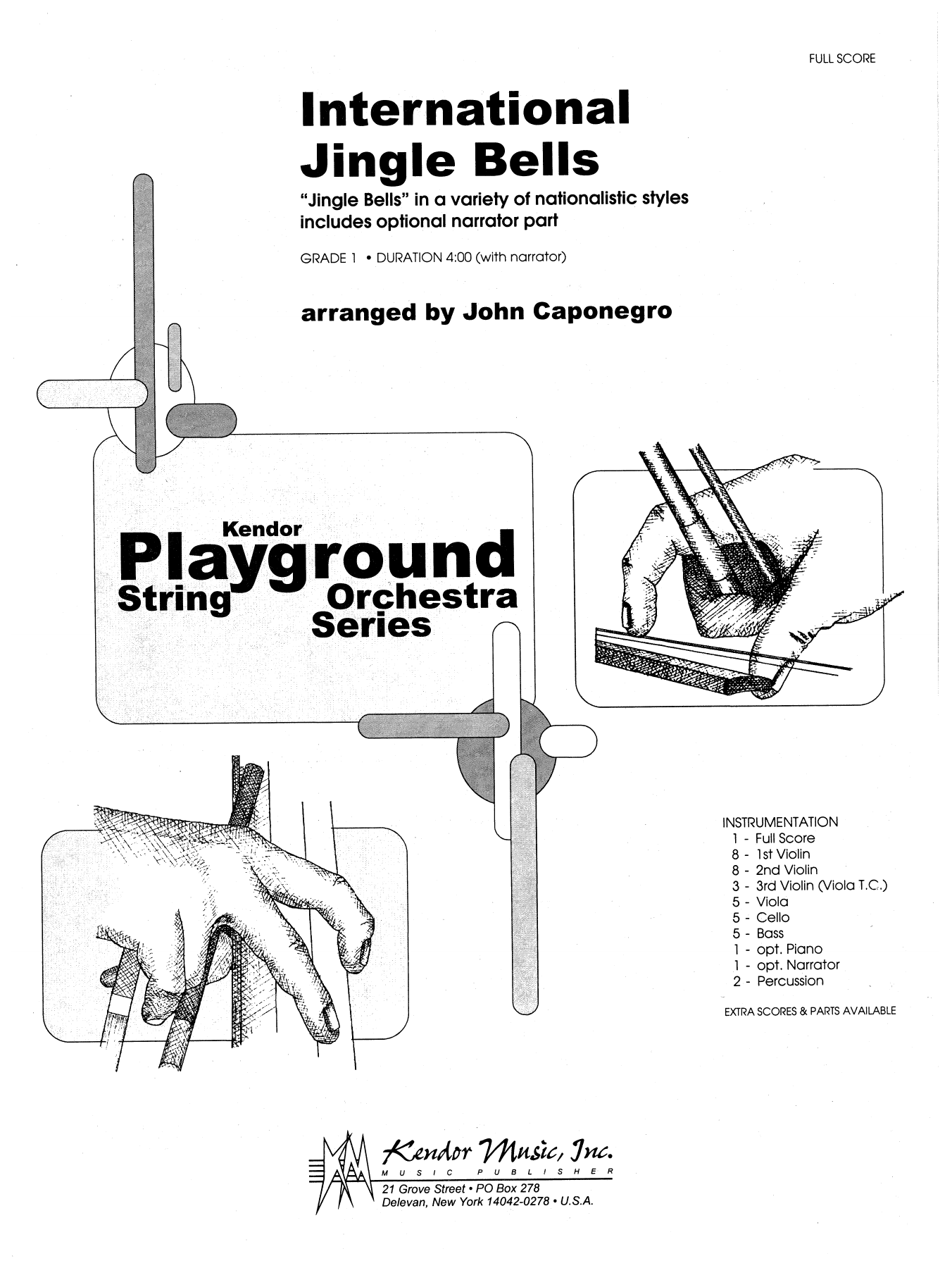 International Jingle Bells (COMPLETE) sheet music for orchestra by John Caponegro. Score Image Preview.