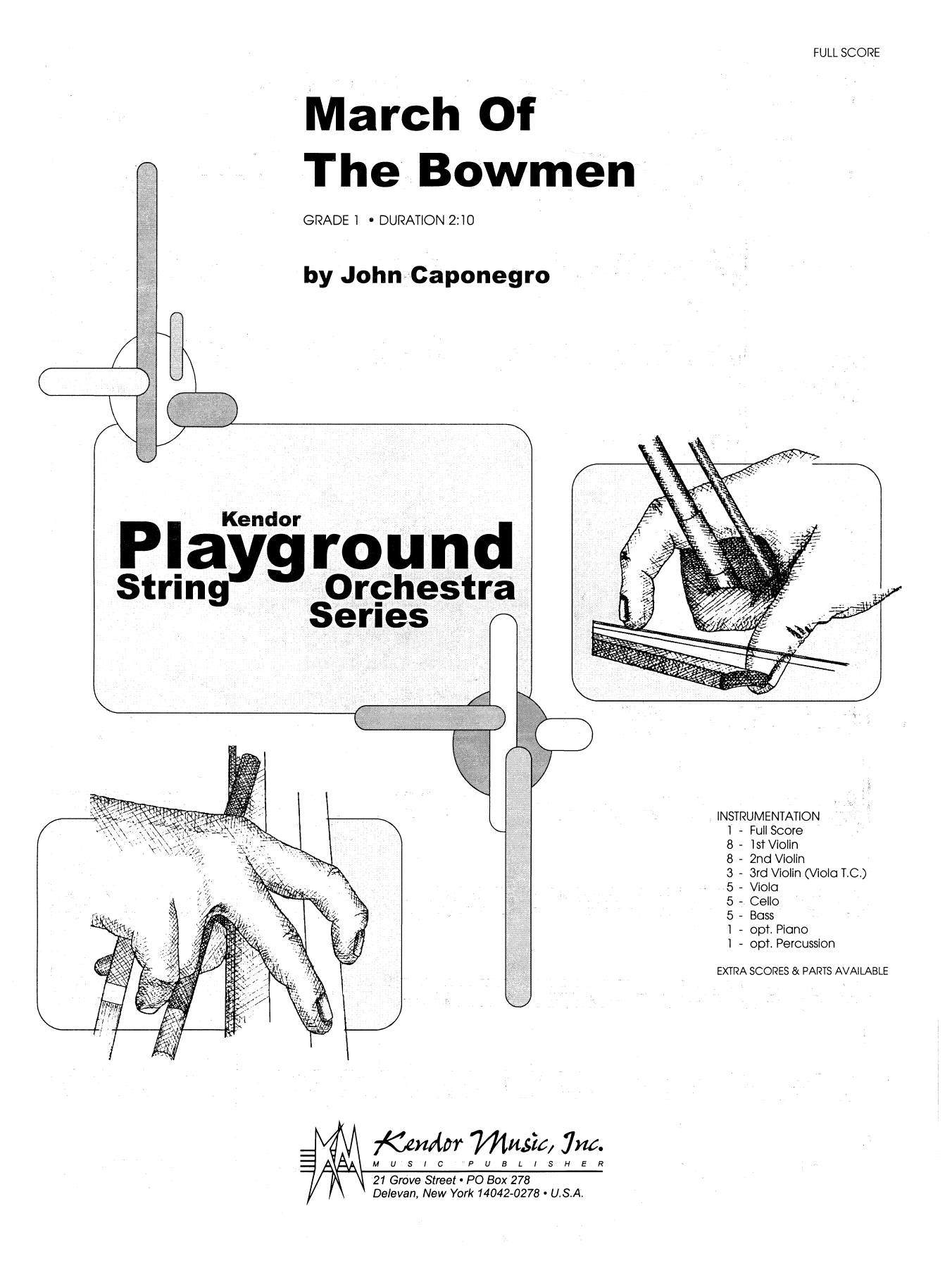 March Of The Bowmen (COMPLETE) sheet music for orchestra by John Caponegro. Score Image Preview.