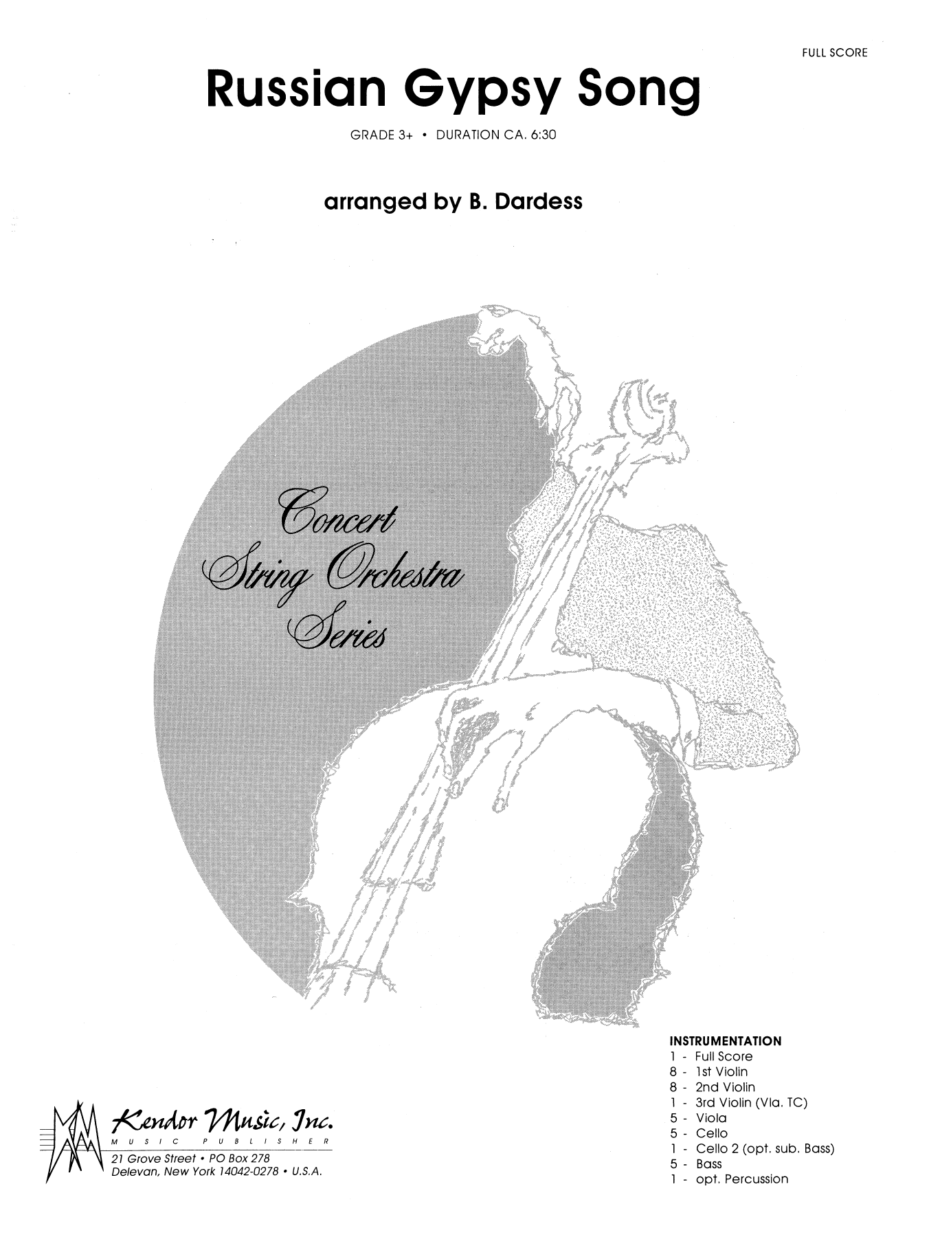 Russian Gypsy Song (COMPLETE) sheet music for orchestra by Betty Dardess. Score Image Preview.