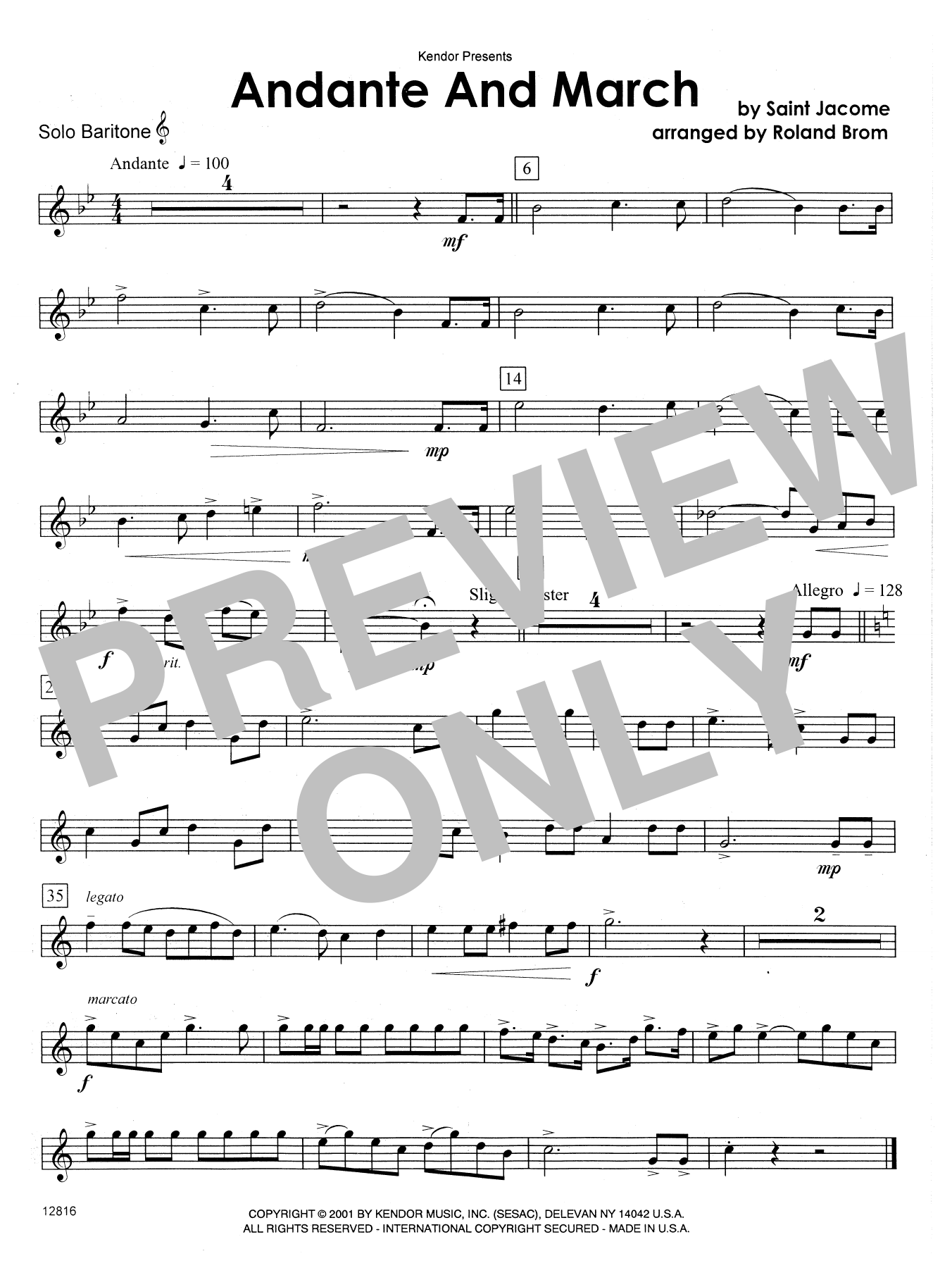 Andante And March - Solo Baritone T.C. Sheet Music