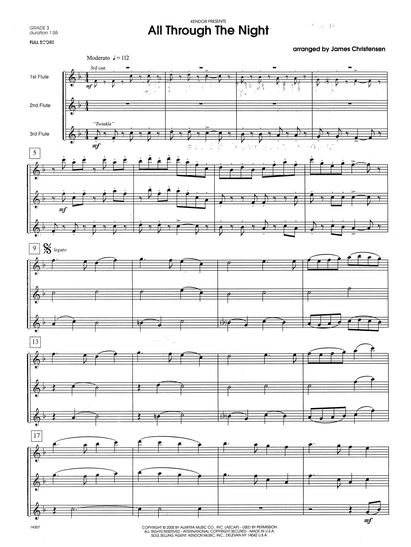 All Through the Night (COMPLETE) sheet music for flute quartet by James Christensen. Score Image Preview.