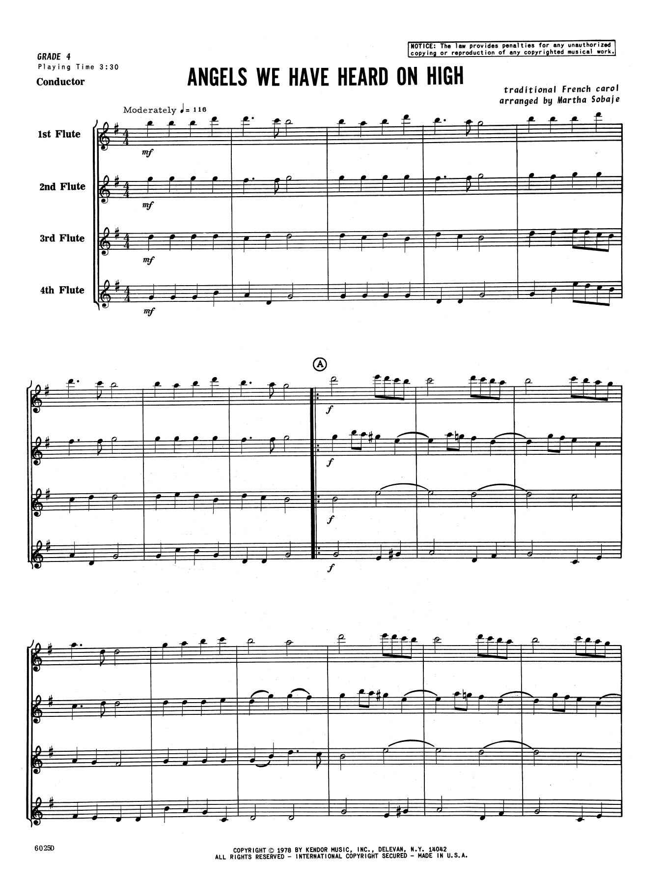 Angels We Have Heard on High (COMPLETE) sheet music for flute quartet by Sobaje. Score Image Preview.