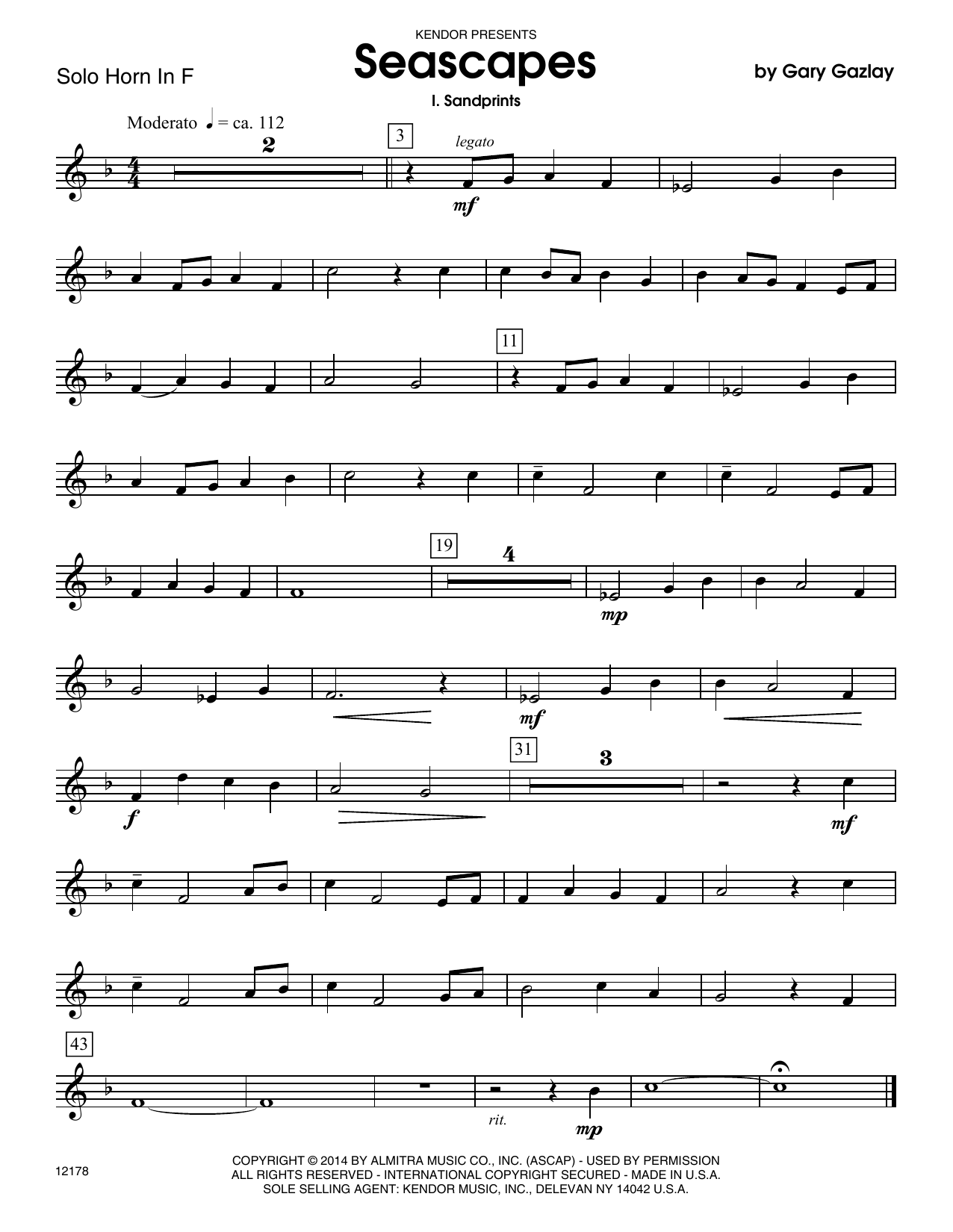 Seascapes (complete set of parts) sheet music for horn and piano by Gary Gazlay. Score Image Preview.