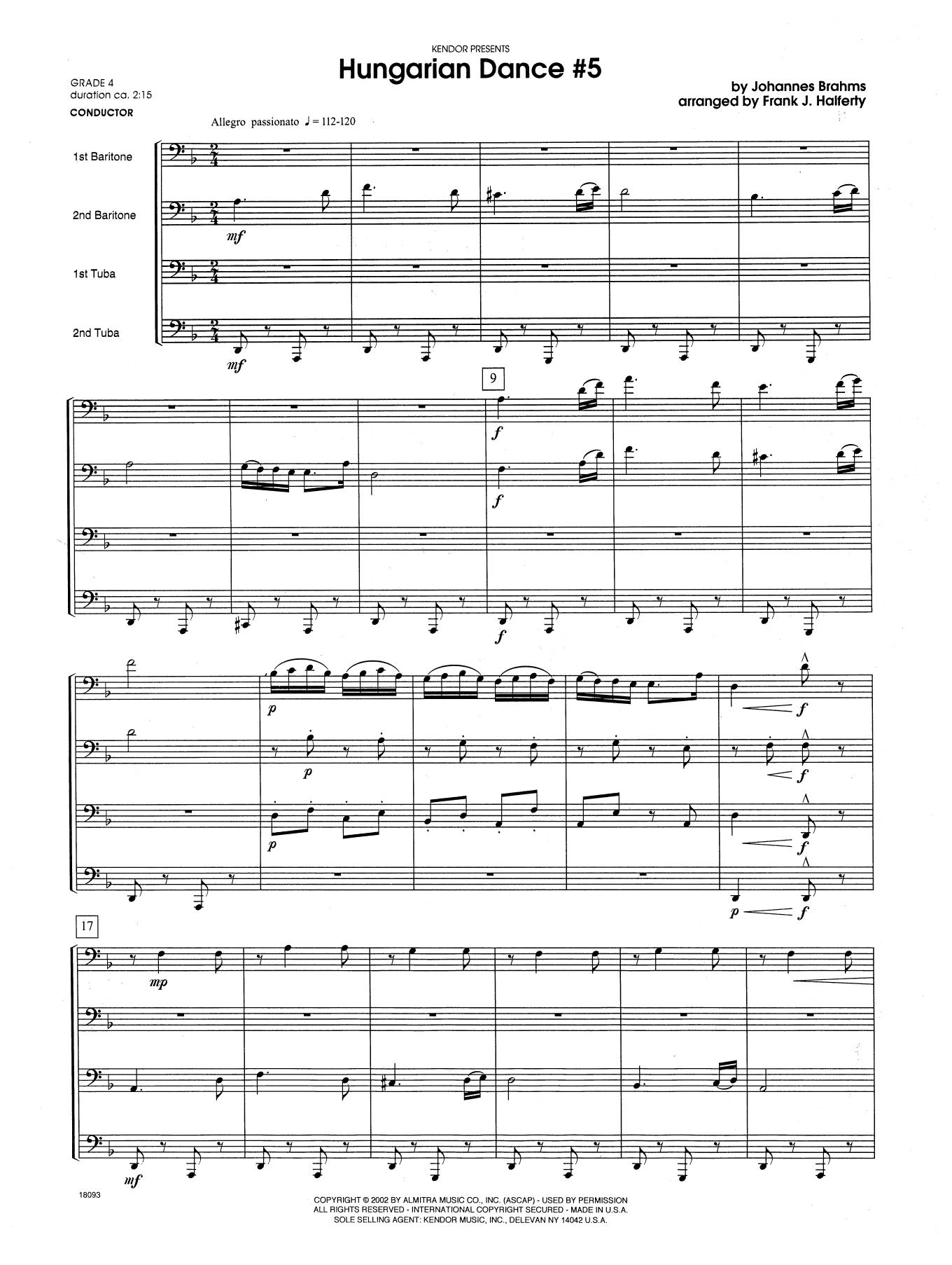 Hungarian Dance #5 - Full Score Sheet Music