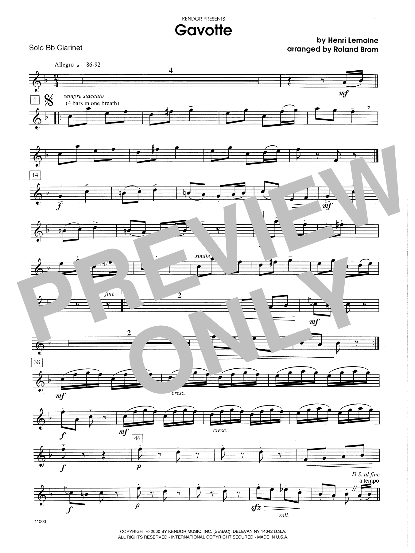 Gavotte (complete set of parts) sheet music for clarinet and piano by Brom and Lemoine. Score Image Preview.