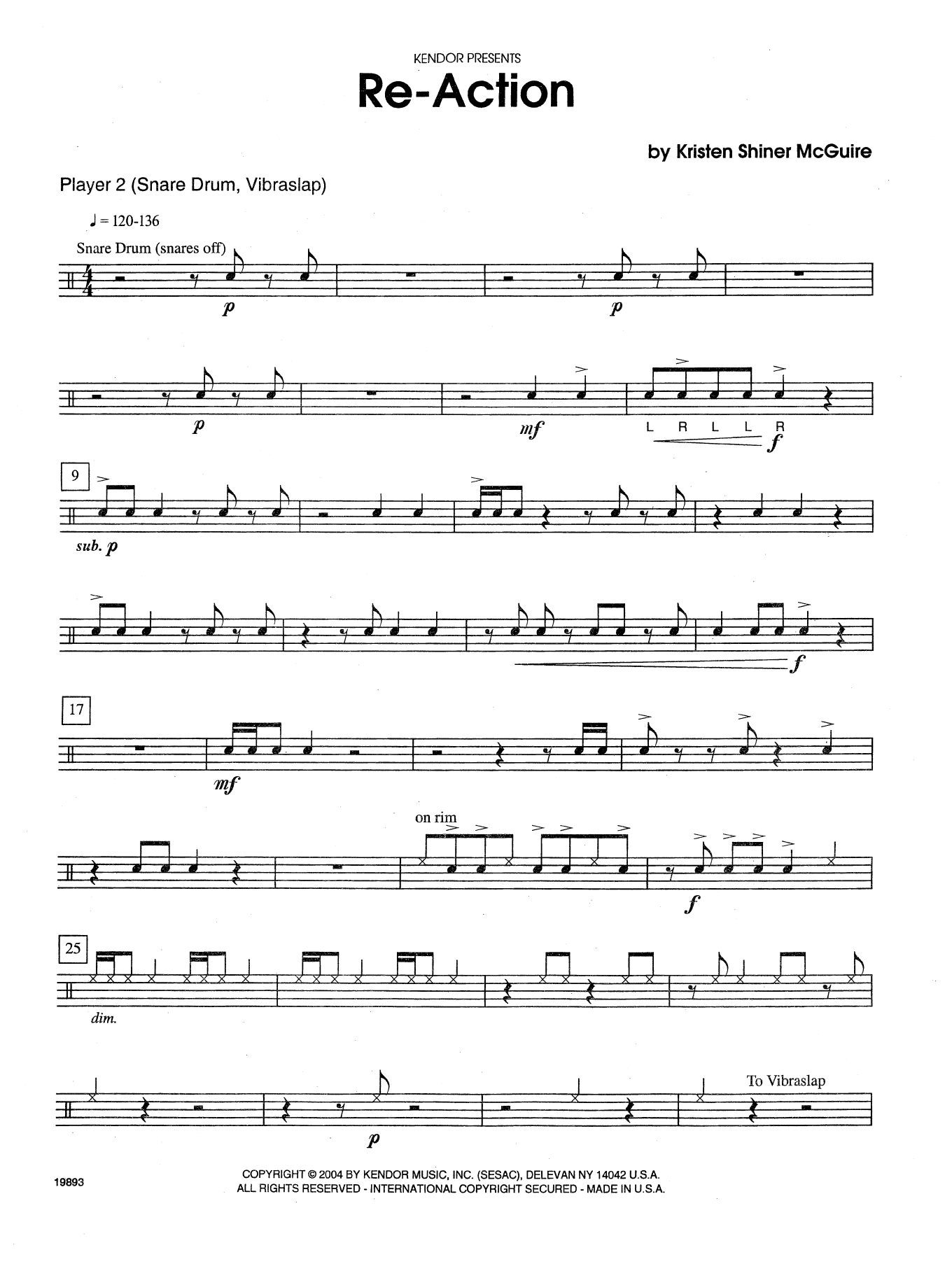 Re-Action - Percussion 2 Sheet Music