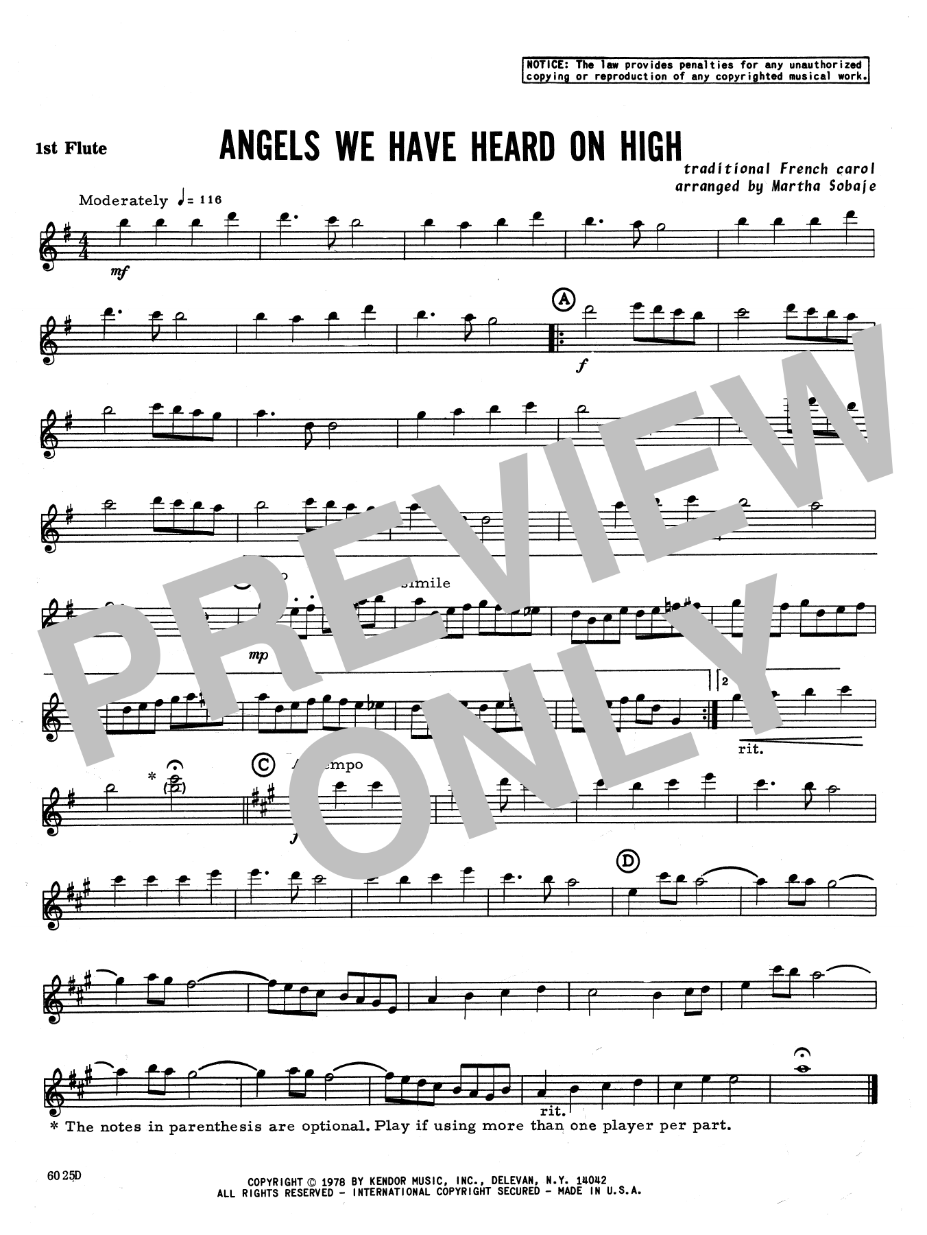Angels We Have Heard on High - 1st Flute Sheet Music