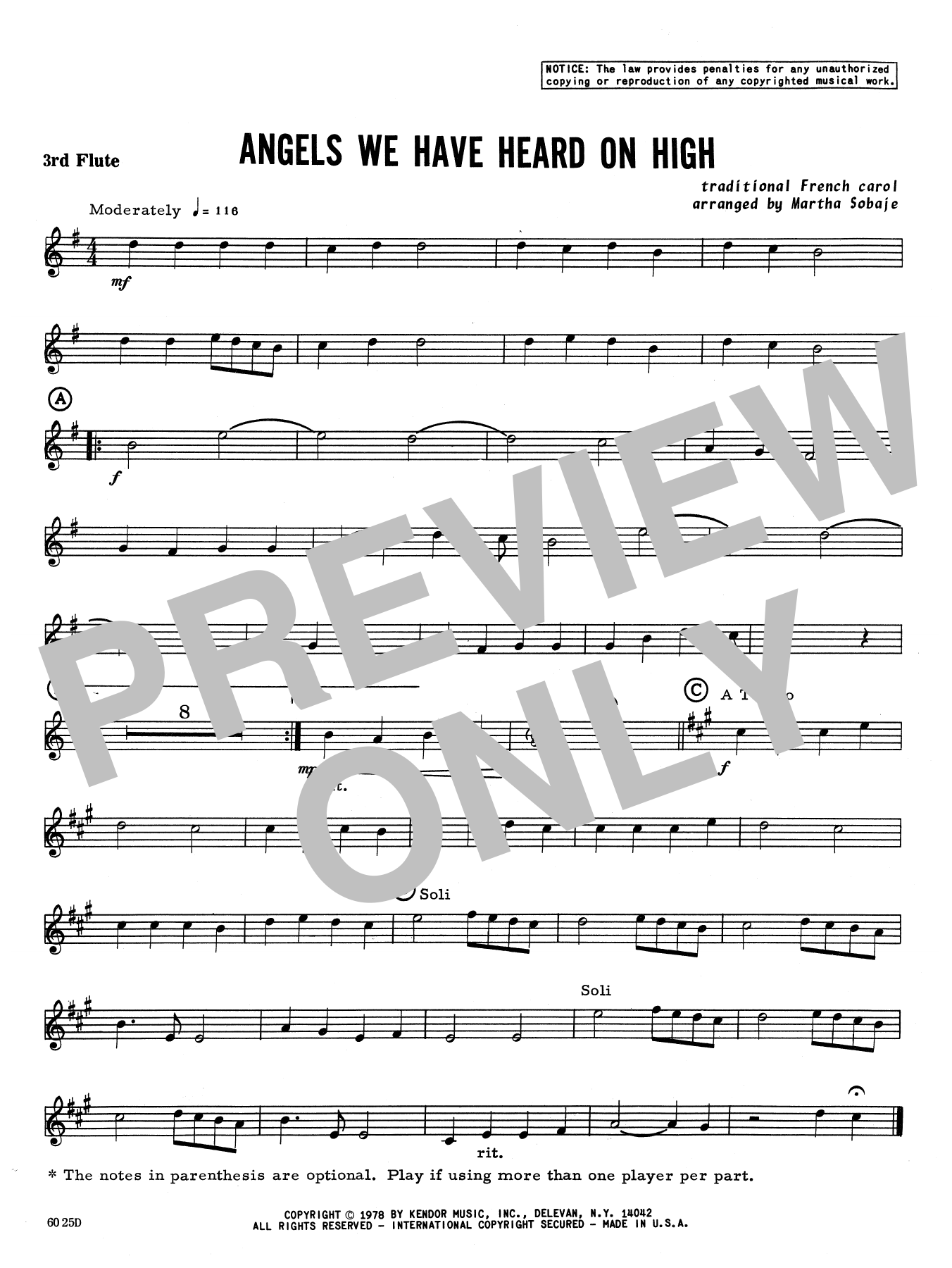 Angels We Have Heard on High - 3rd C Flute Sheet Music