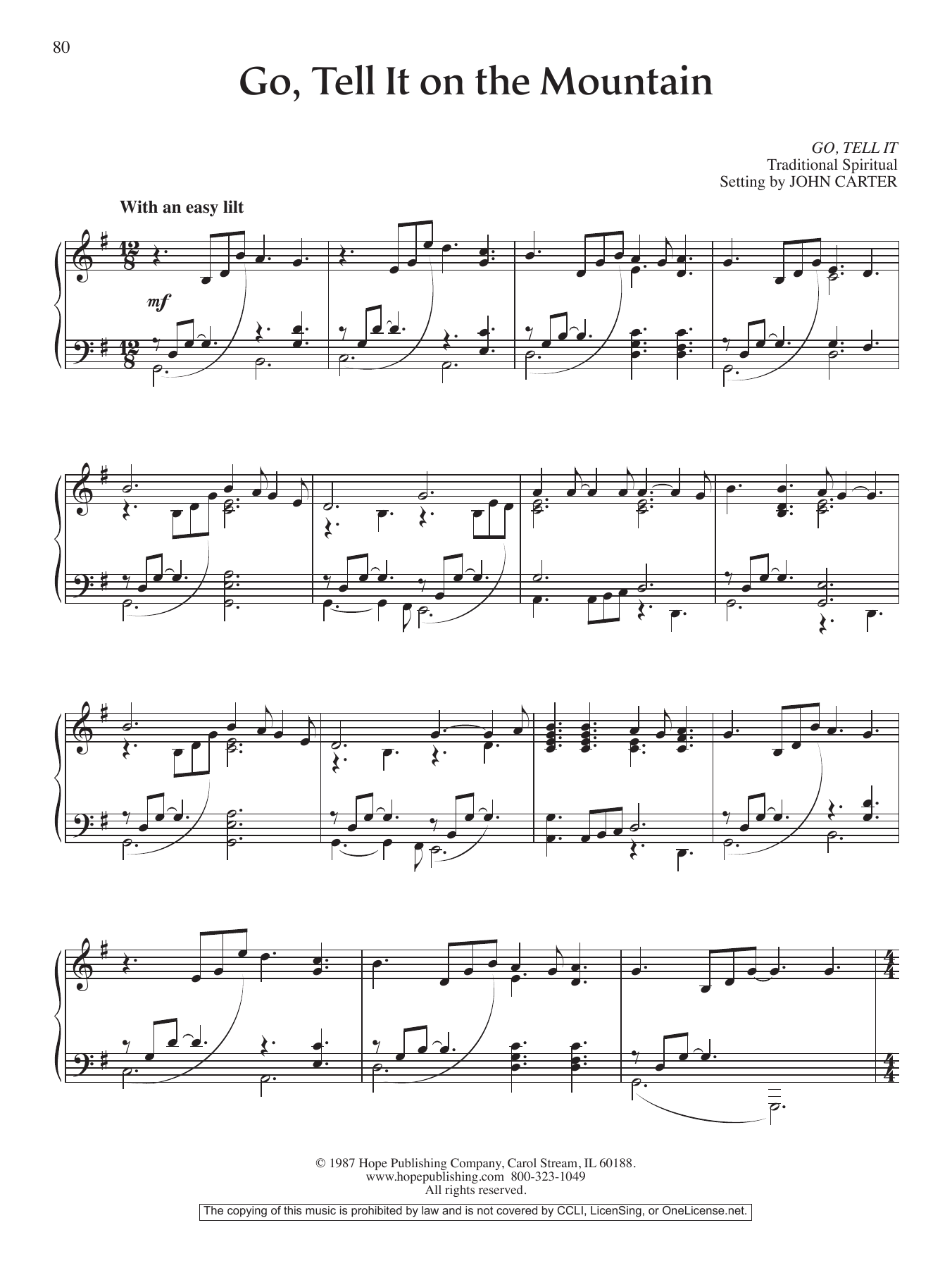 Go, Tell It on the Mountain Sheet Music