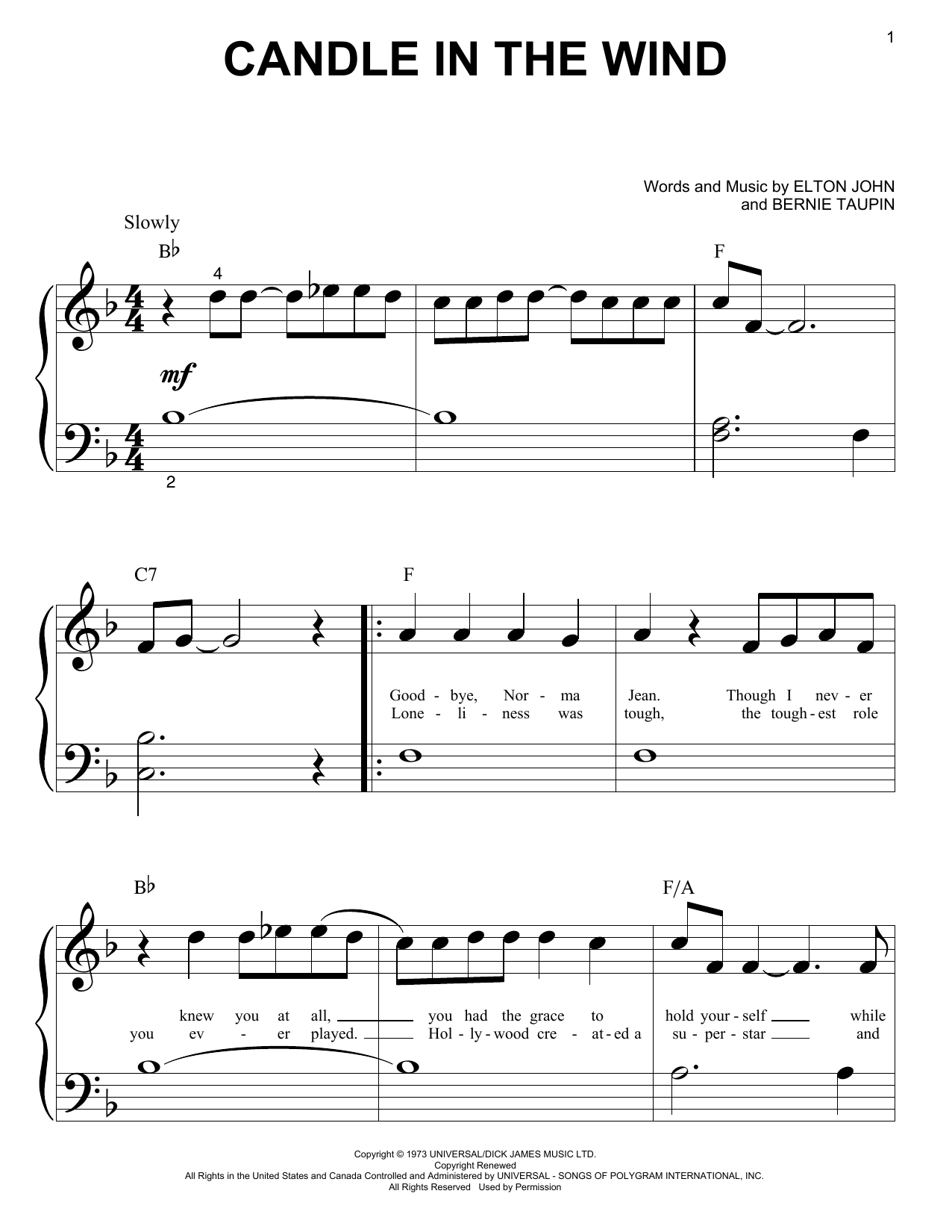 Candle In The Wind (Big Note Piano)