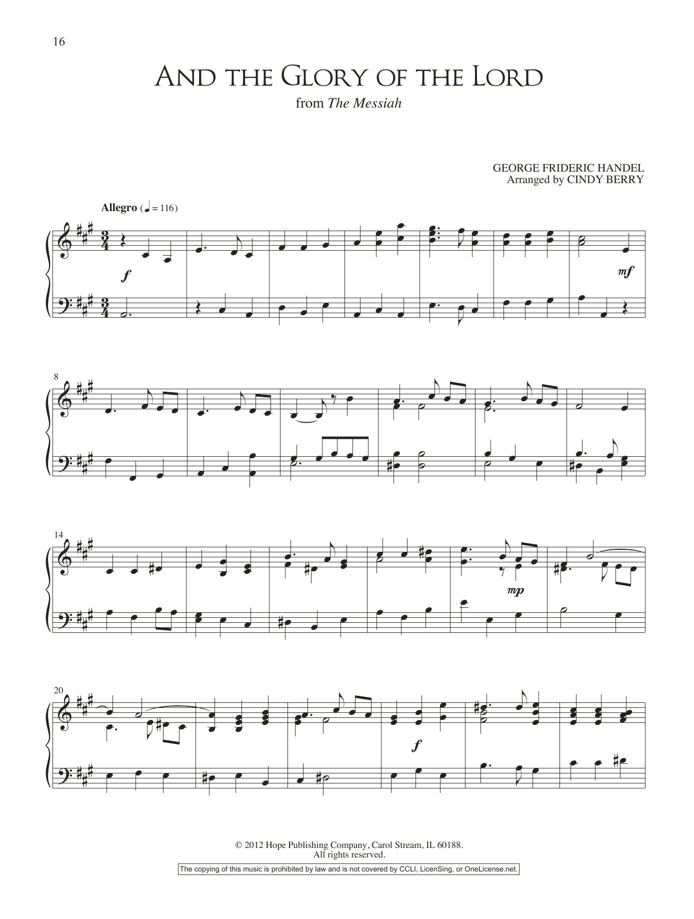 And the Glory of the Lord Sheet Music