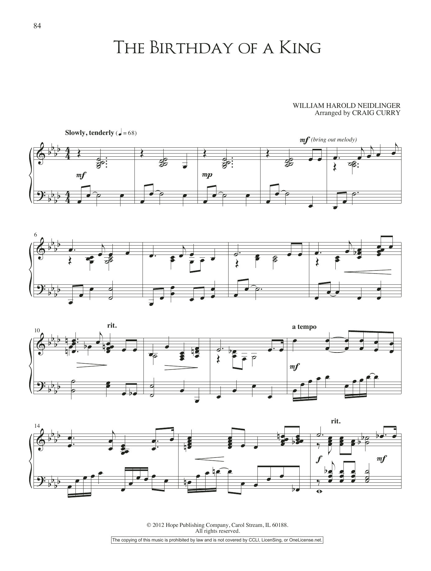The Birthday of a King (Piano Solo)