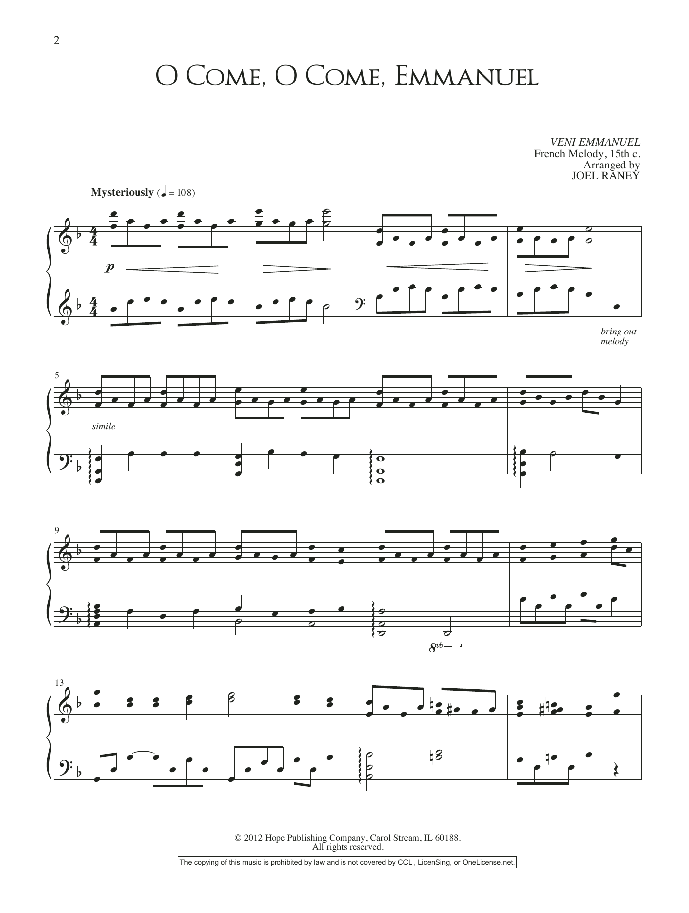 O Come, O Come, Emmanuel | Sheet Music Direct