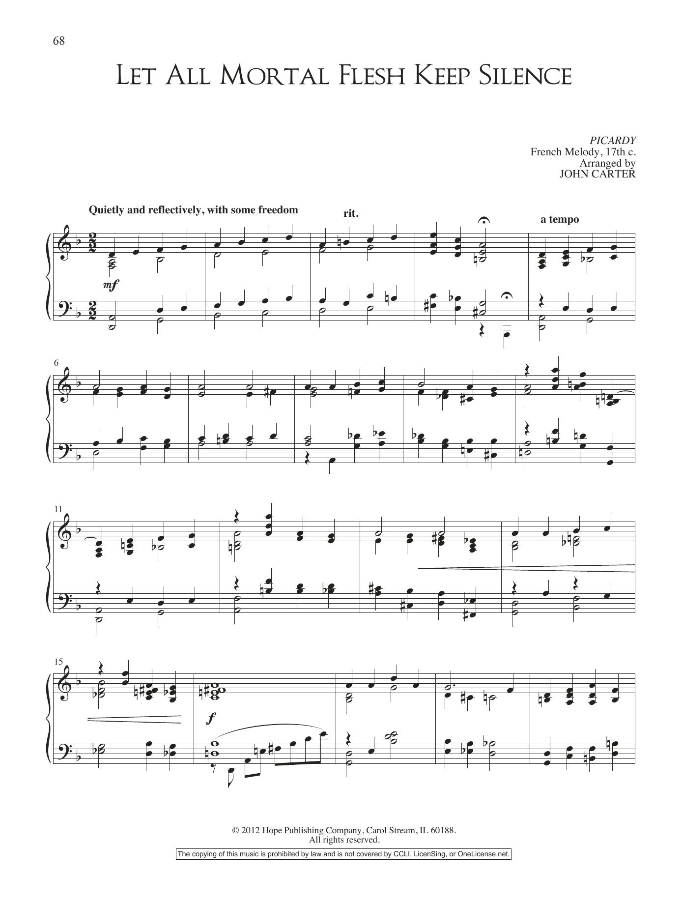 Let All Mortal Flesh Keep Silence by John Carter Piano Solo Digital Sheet  Music