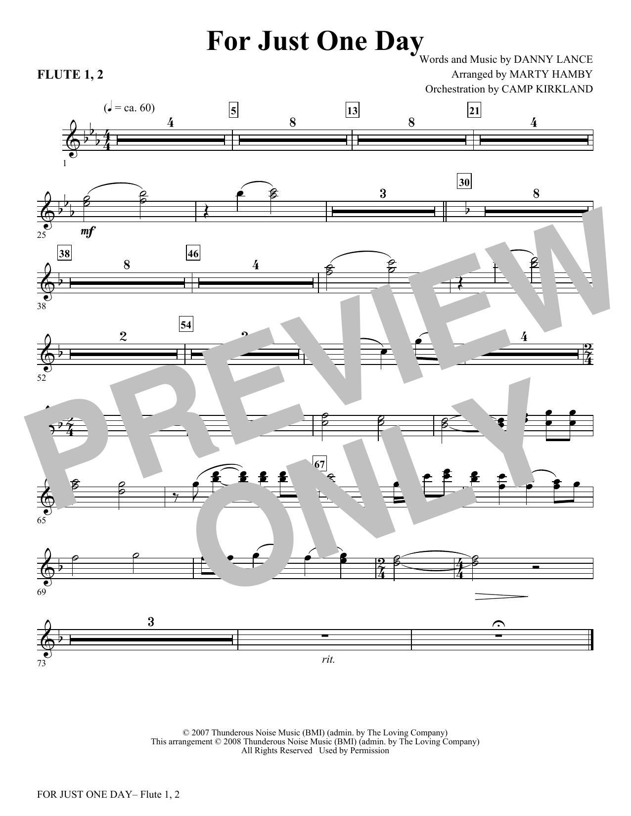 For Just One Day - Flute 1 & 2 Sheet Music
