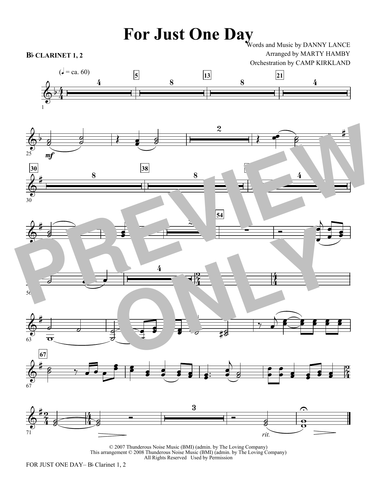 For Just One Day - Clarinet 1 & 2 Sheet Music