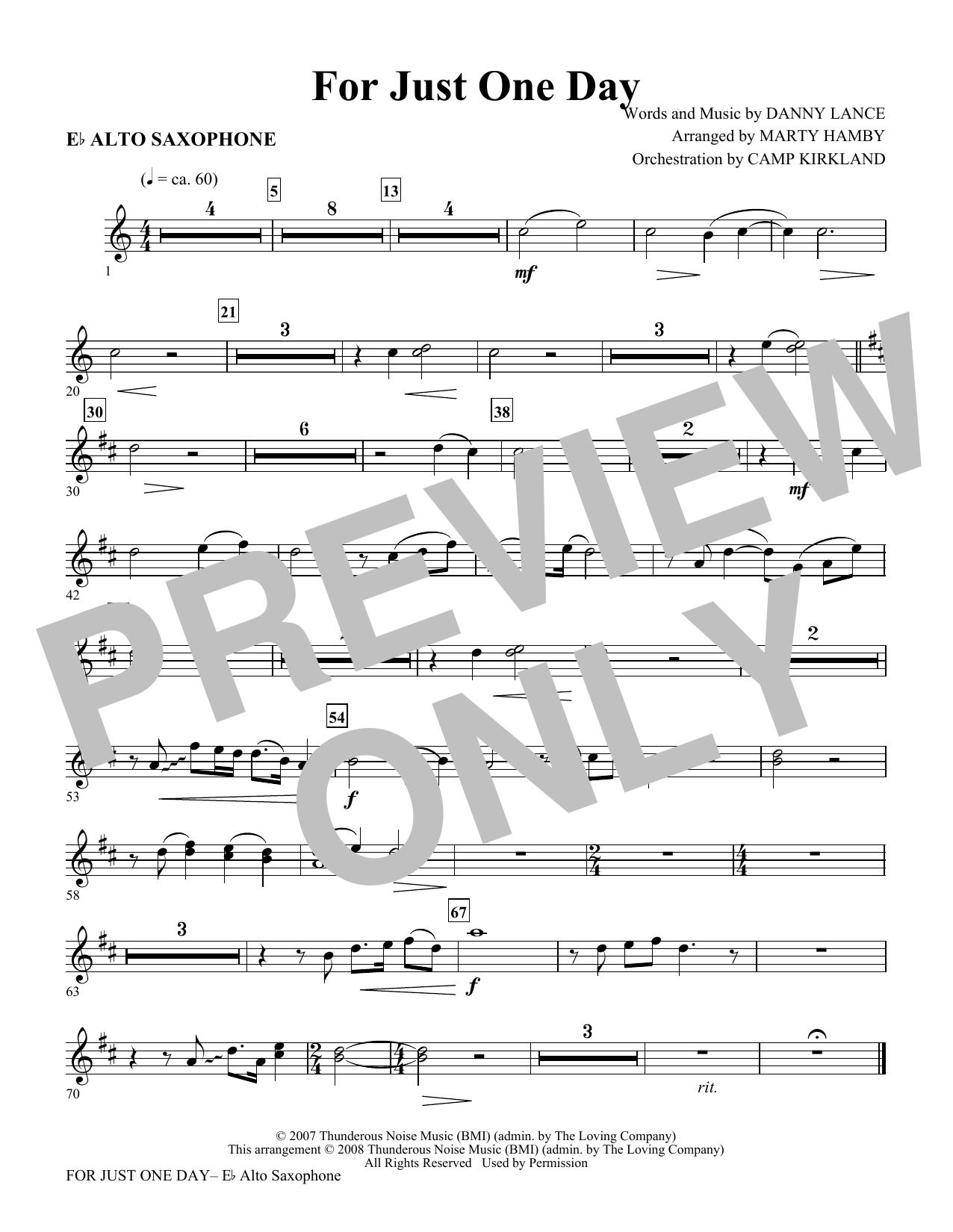 For Just One Day - Alto Sax Sheet Music