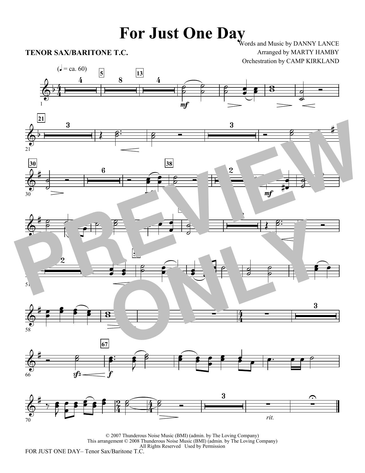 For Just One Day - Tenor Sax/Baritone TC (Choir Instrumental Pak)